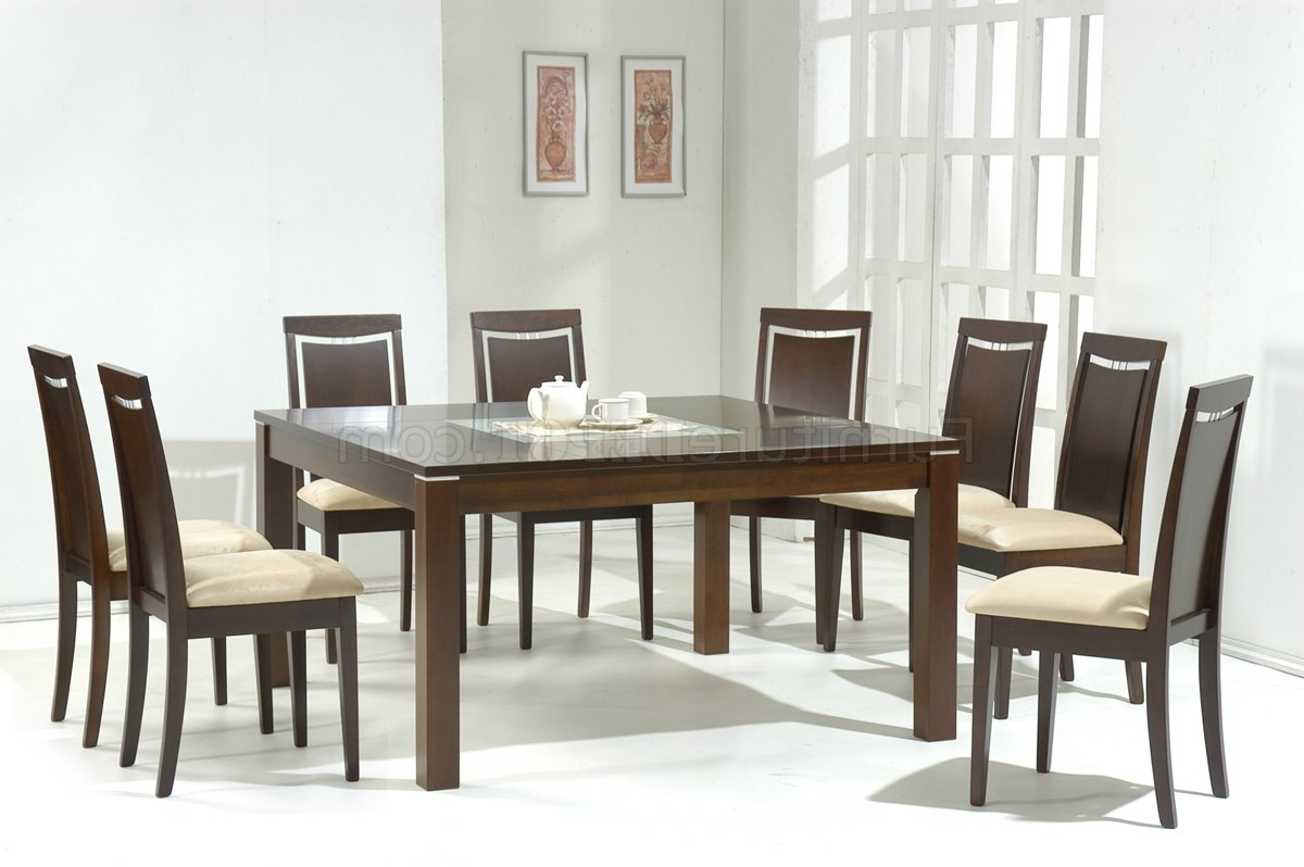 Dark Walnut Modern Dining Table W/glass Inlay & Optional Chairs For Trendy Retro Glass Dining Tables And Chairs (Gallery 23 of 25)