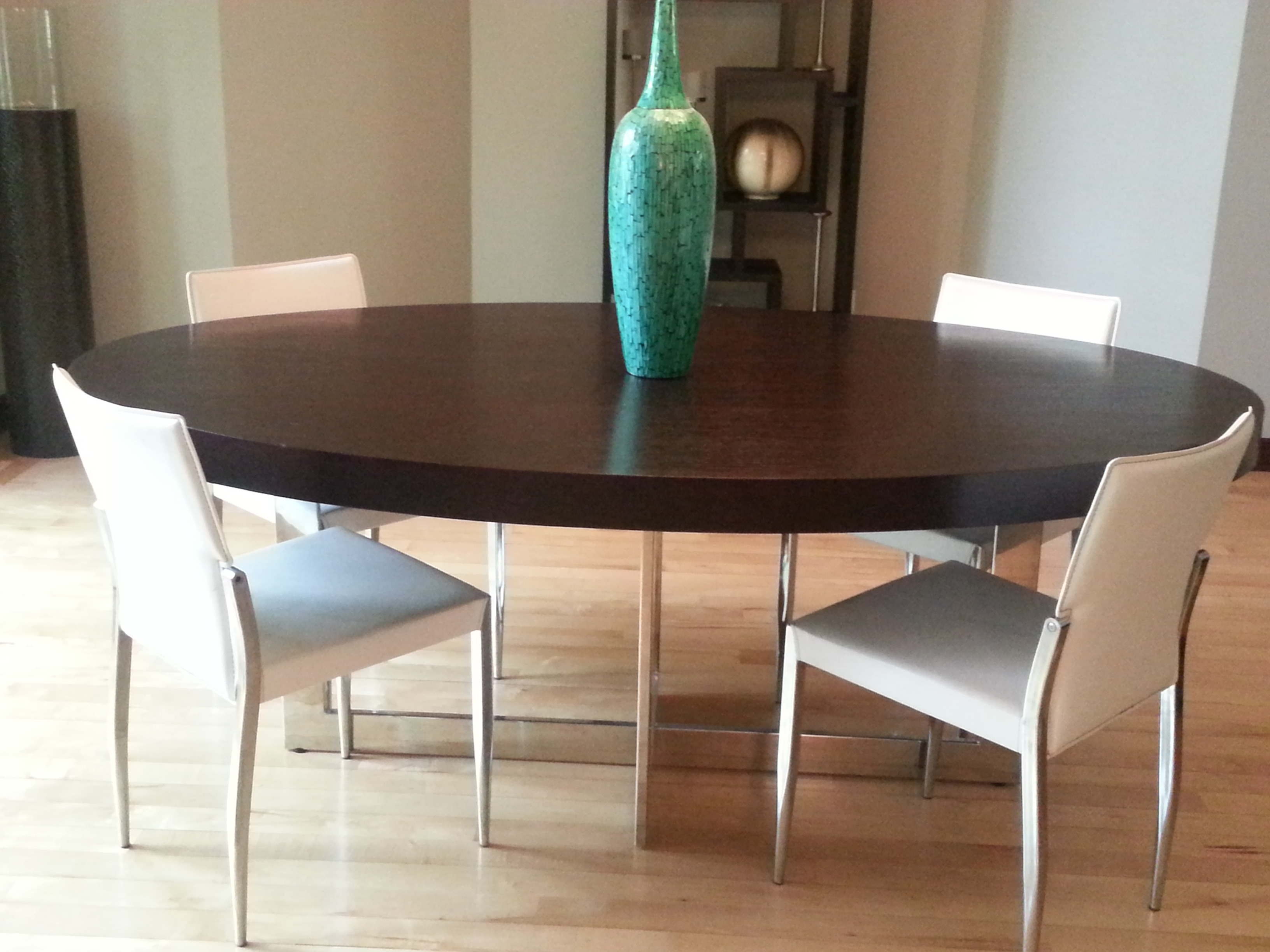 Dark Wood Dining Room Furniture With 2017 Contemporary Large Oval Dark Wood Dining Table With Stainless Steel (Gallery 11 of 25)
