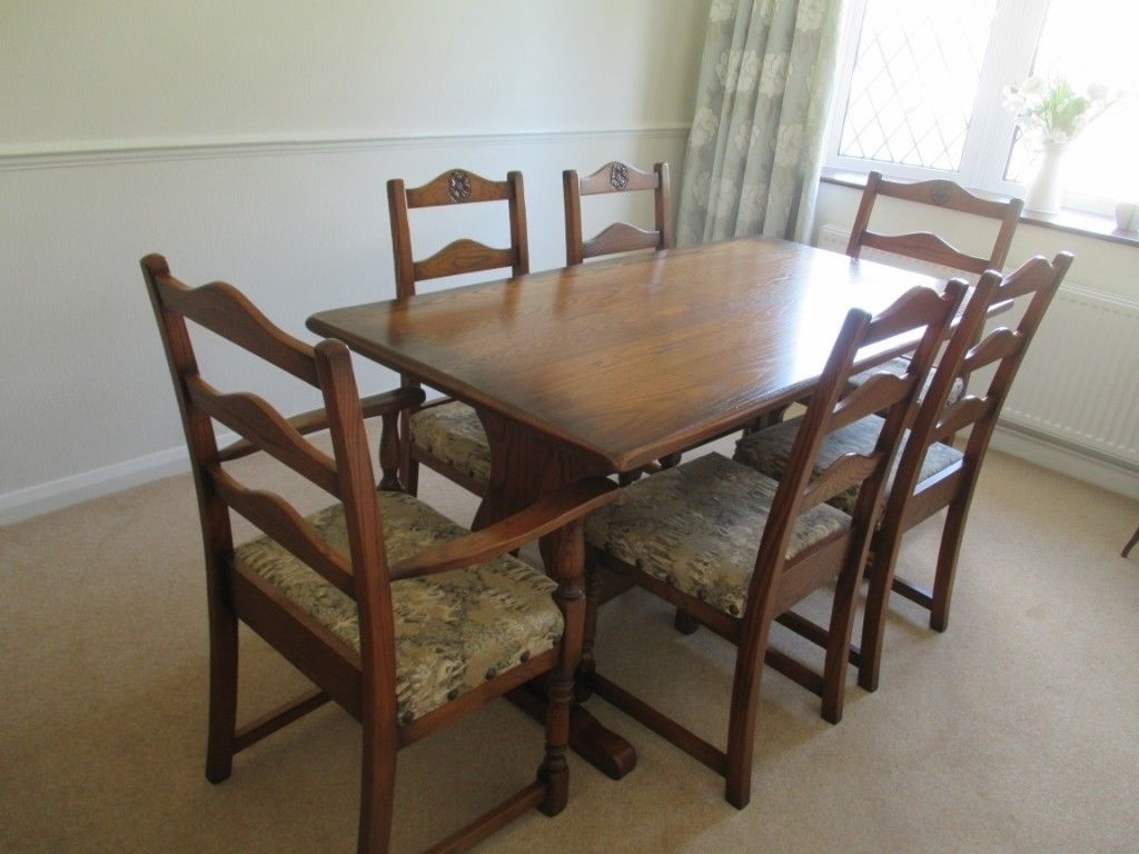 Dark Wood Dining Tables 6 Chairs With Favorite Dining Table + 6 Chairs – Mellowcraft Medium Dark Oak (View 18 of 25)