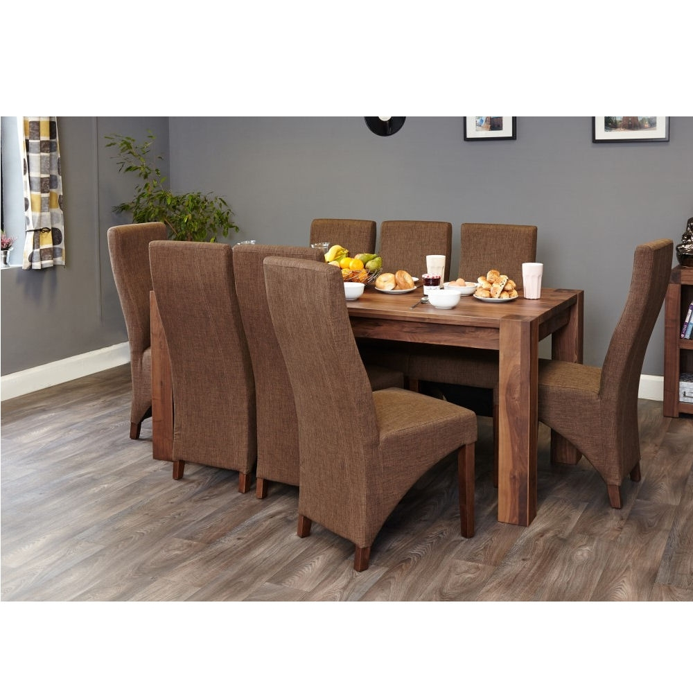 Dark Wood Dining Tables 6 Chairs Within Newest Lounge Walnut Large Dining Table (Seats 6 8) – Azura Home Style (Gallery 24 of 25)