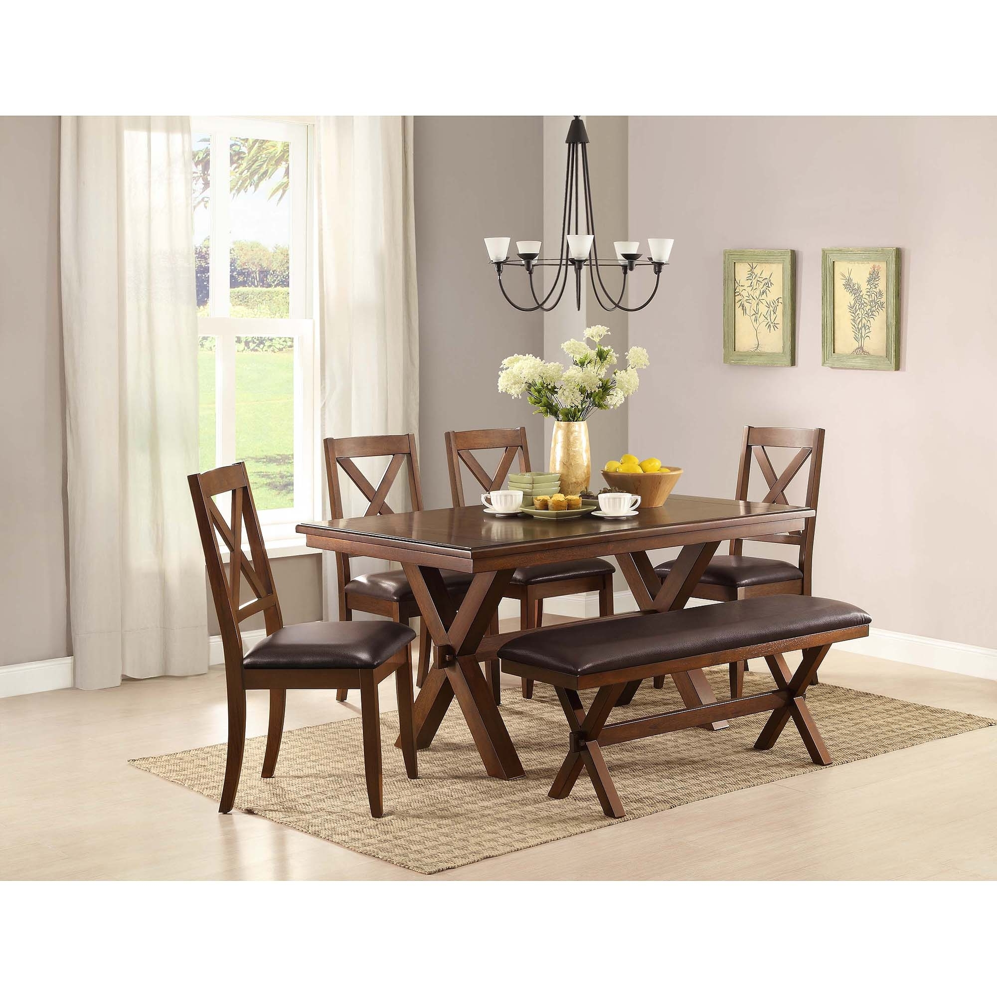 Dark Wood Dining Tables And 6 Chairs Pertaining To Fashionable Better Homes & Gardens Maddox Crossing Dining Table, Brown – Walmart (Gallery 21 of 25)