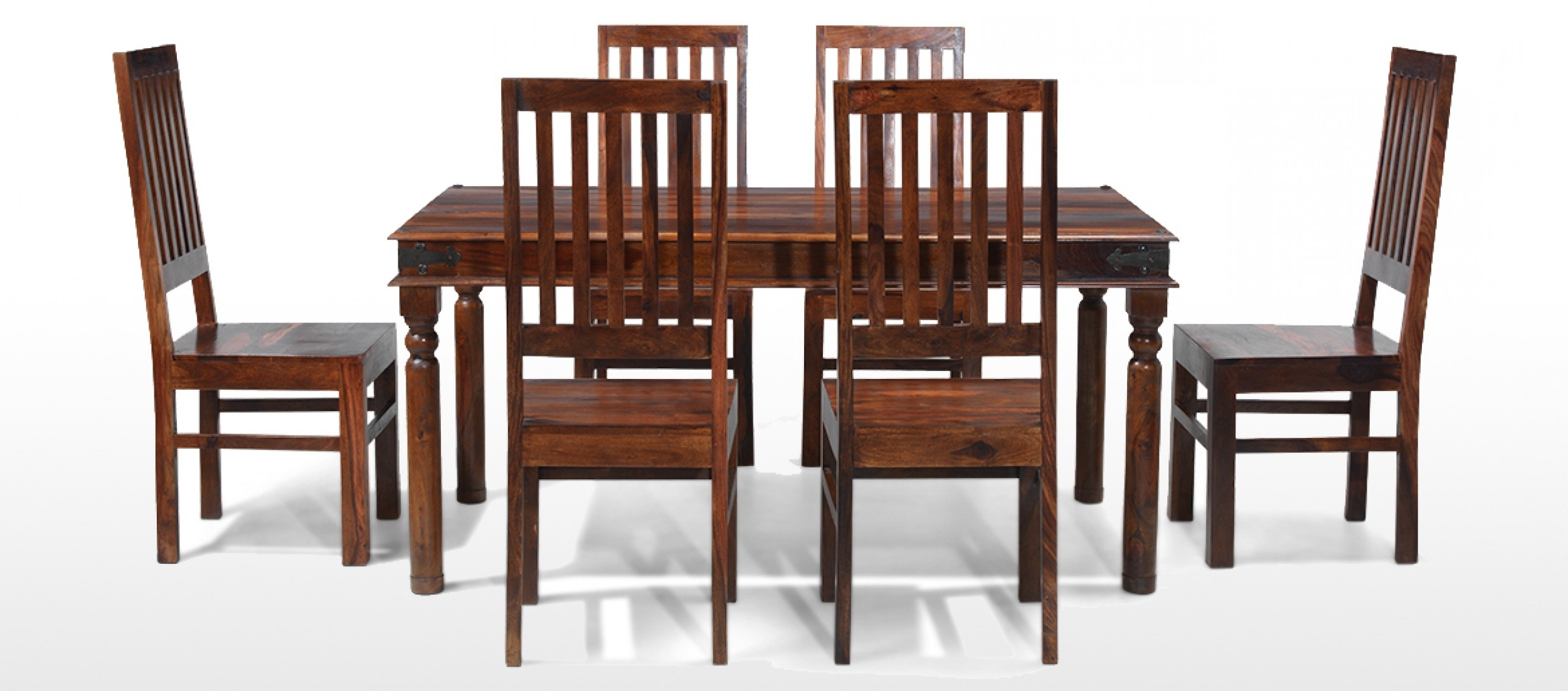 Dark Wood Dining Tables And 6 Chairs with Well-liked Jali Sheesham 160 Cm Thakat Dining Table And 6 Chairs