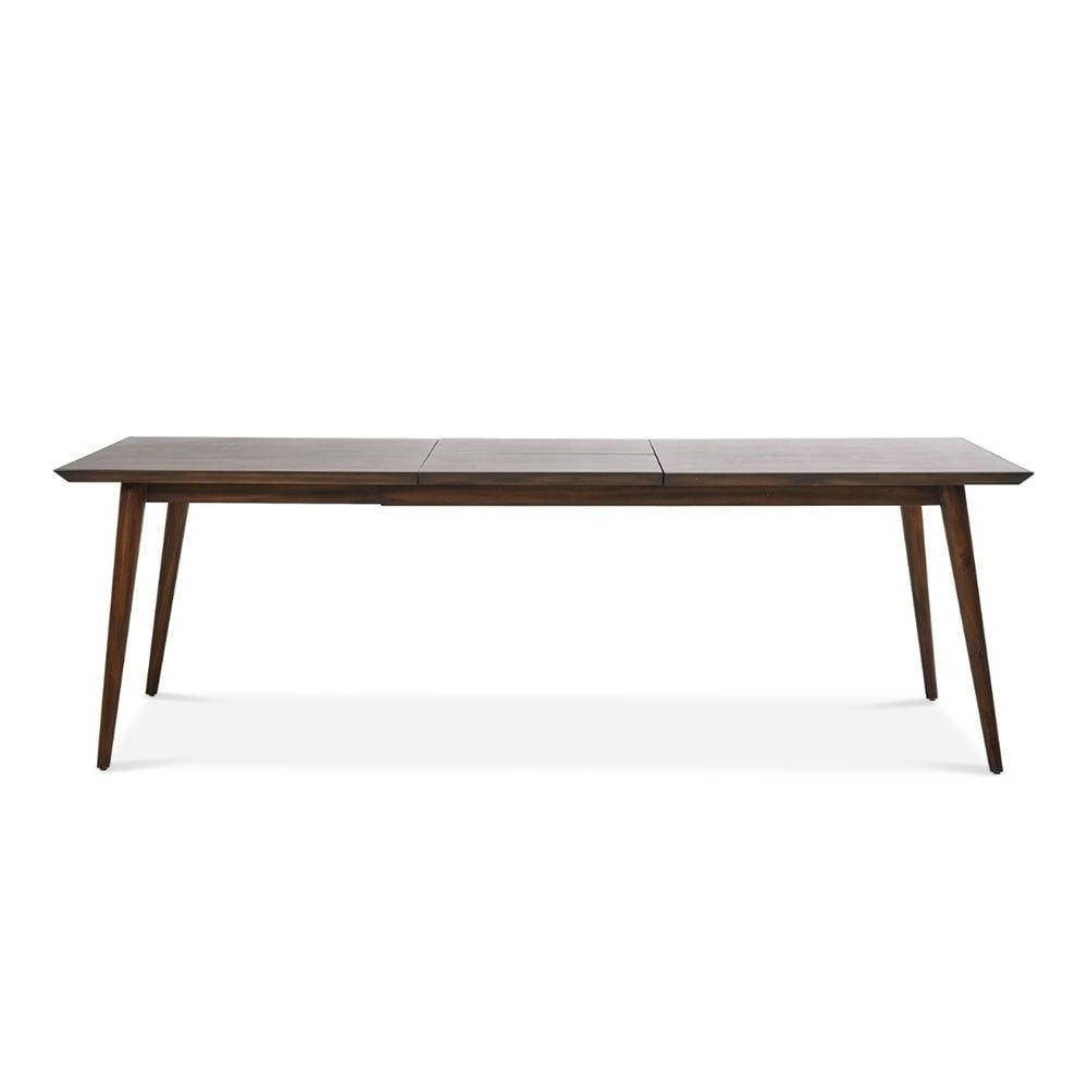 Dark Wood Extending Dining Tables pertaining to Well known Aspen Large Extending Dining Table, Solid Acacia, Dark Brown 180Cm
