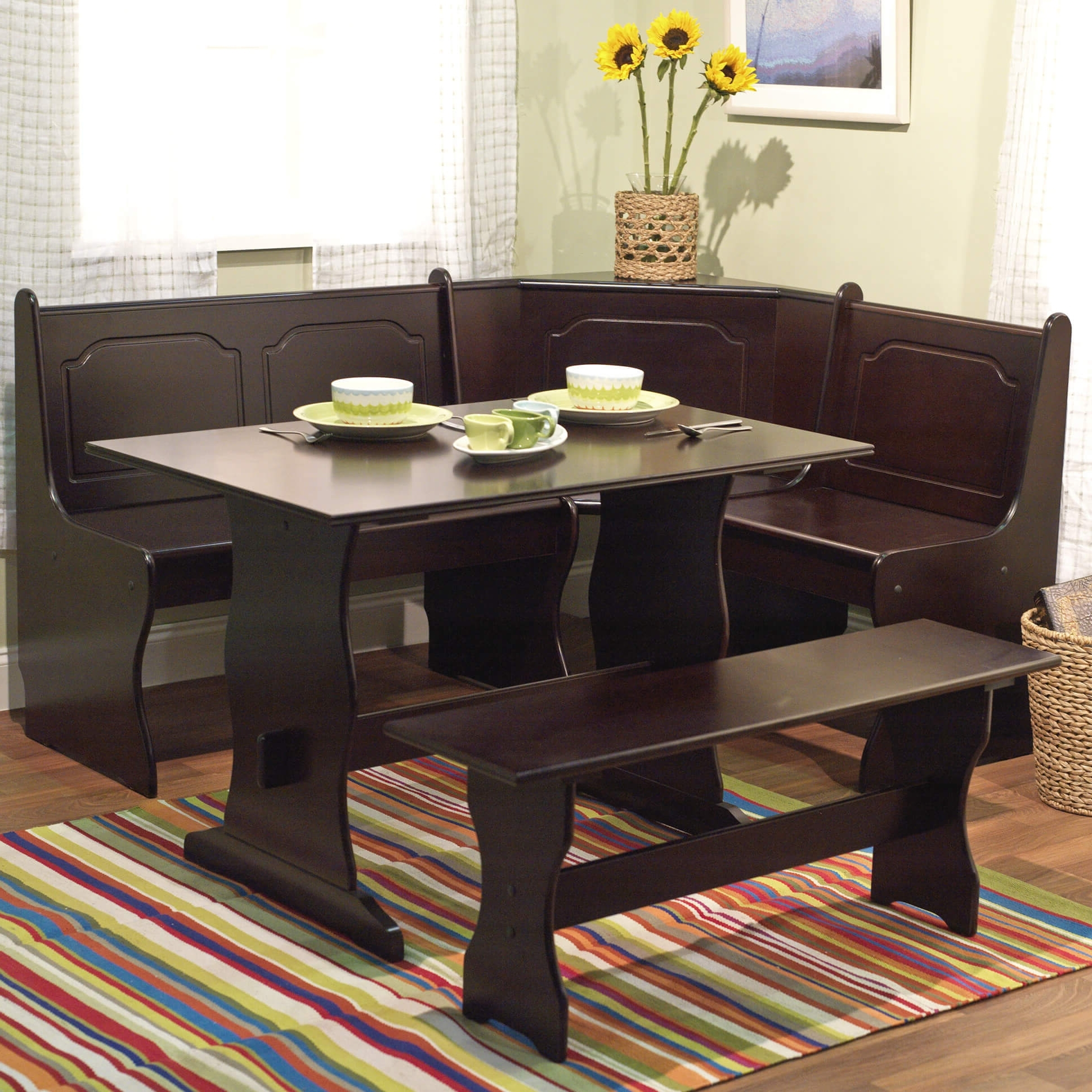 Dark Wood Square Dining Tables Inside Fashionable Wow! 30 Space Saving Corner Breakfast Nook Furniture Sets (2018) (Gallery 7 of 25)