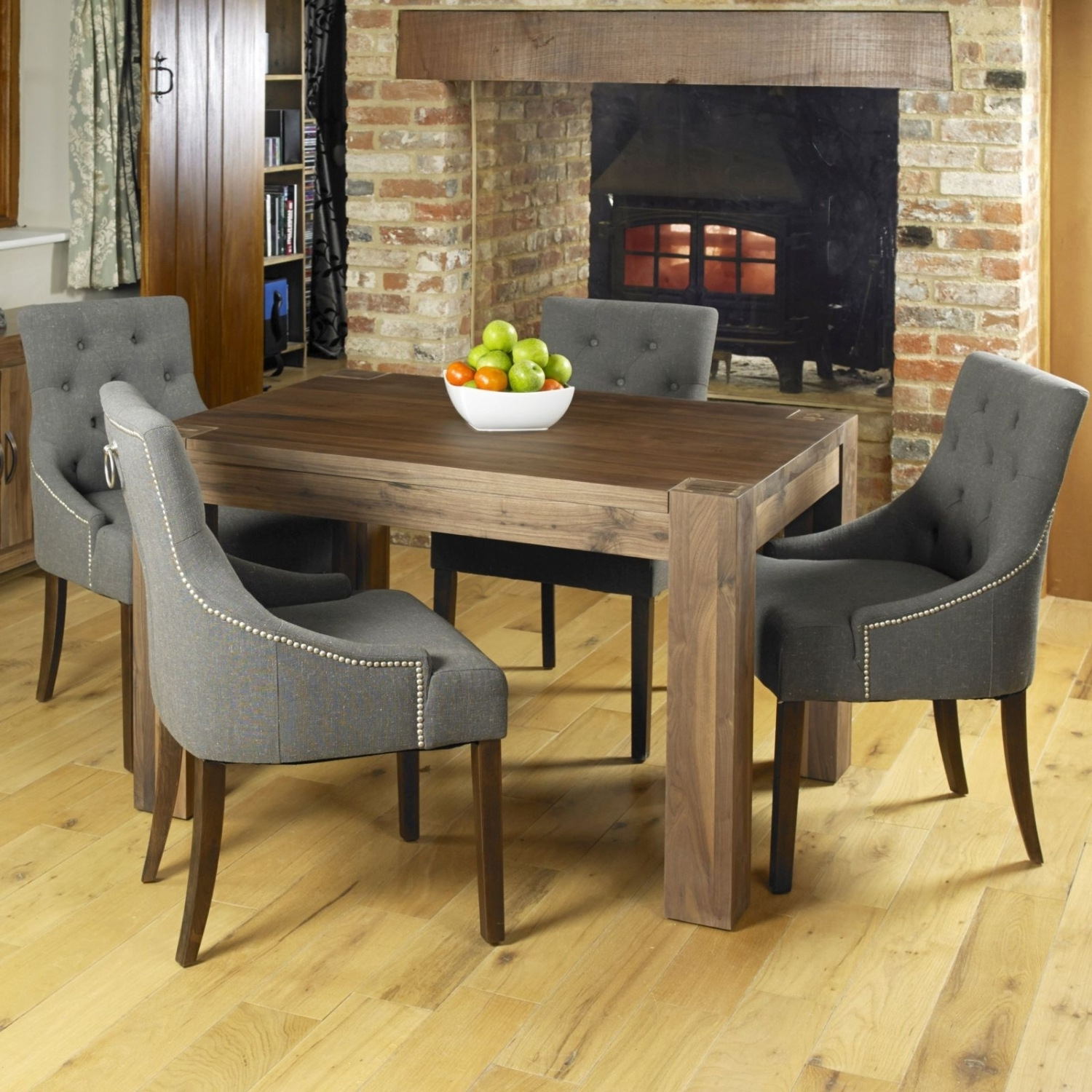 Dark Wooden Dining Tables pertaining to Most Up-to-Date Strathmore Walnut Dark Wood Modern Furniture Dining Table And Four