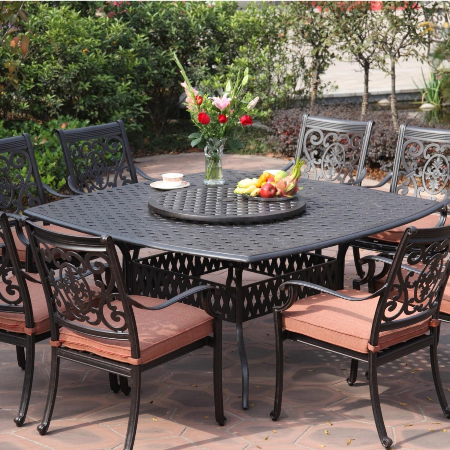 Darlee St. Cruz 9 Piece Cast Aluminum Patio Dining Set With Lazy For Current 8 Seat Outdoor Dining Tables (Gallery 6 of 25)