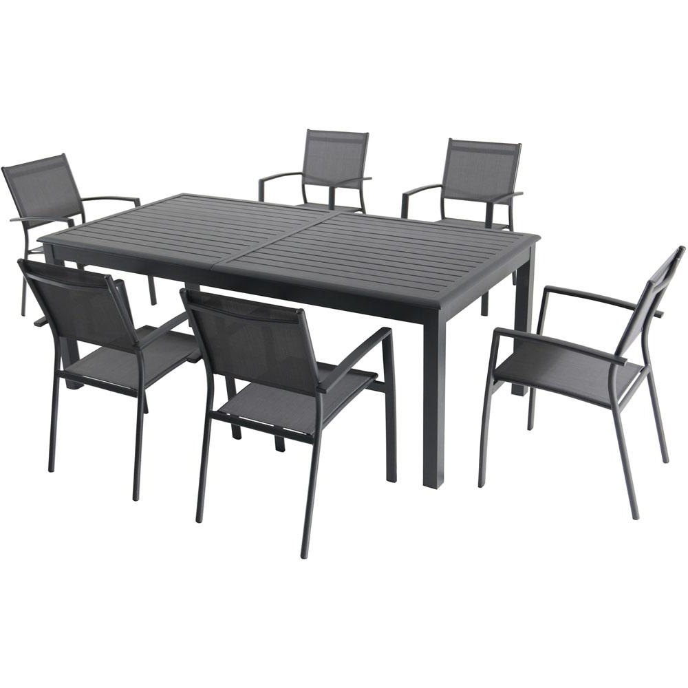 Dawson Dining Tables Inside Most Up To Date Hanover Dawson 7 Piece Aluminum Outdoor Dining Set With 6 Sling (View 18 of 25)
