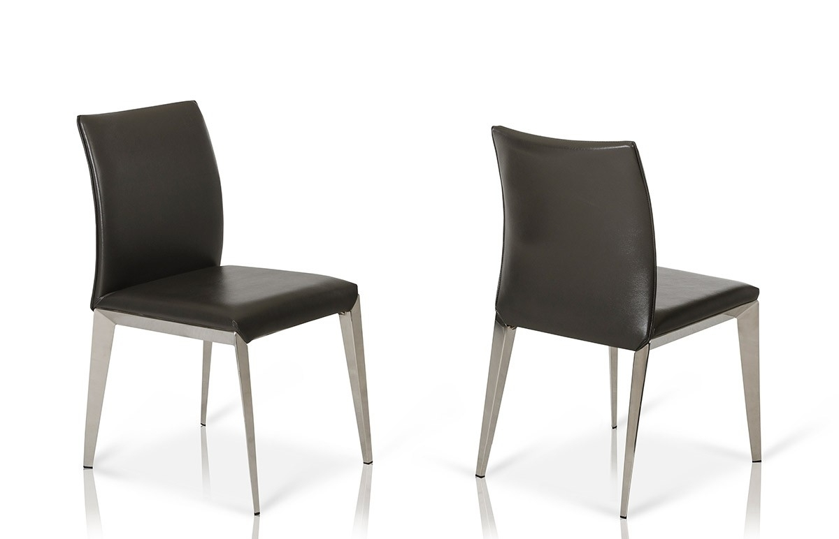 Daytona – Modern Dark Grey Eco Leather Dining Chair (Set Of 2) Pertaining To Most Up To Date Grey Leather Dining Chairs (Gallery 11 of 25)