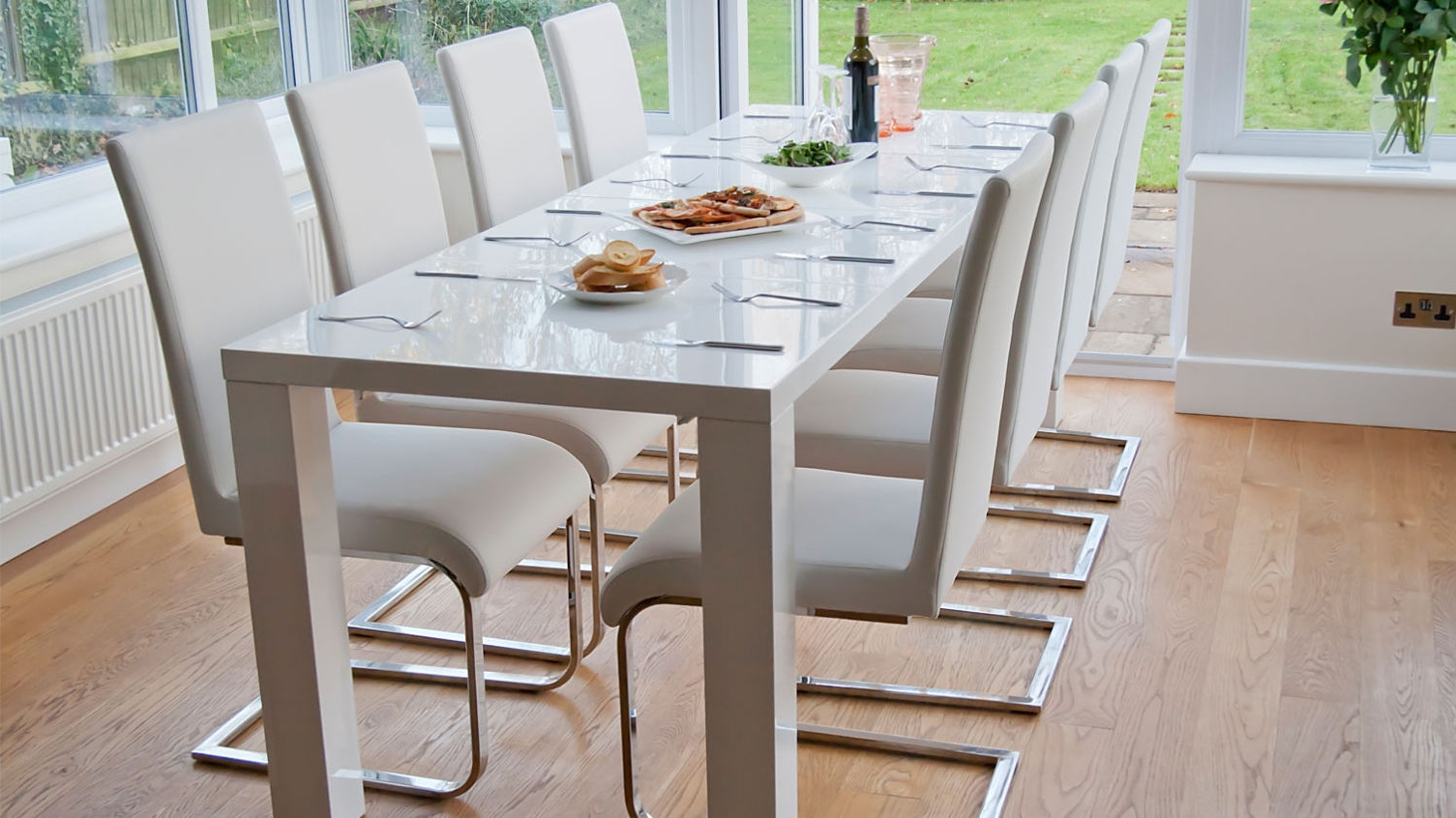 Dazzling White Gloss Extendable Dining Table With White Luca Home for Popular Extendable Dining Tables And Chairs