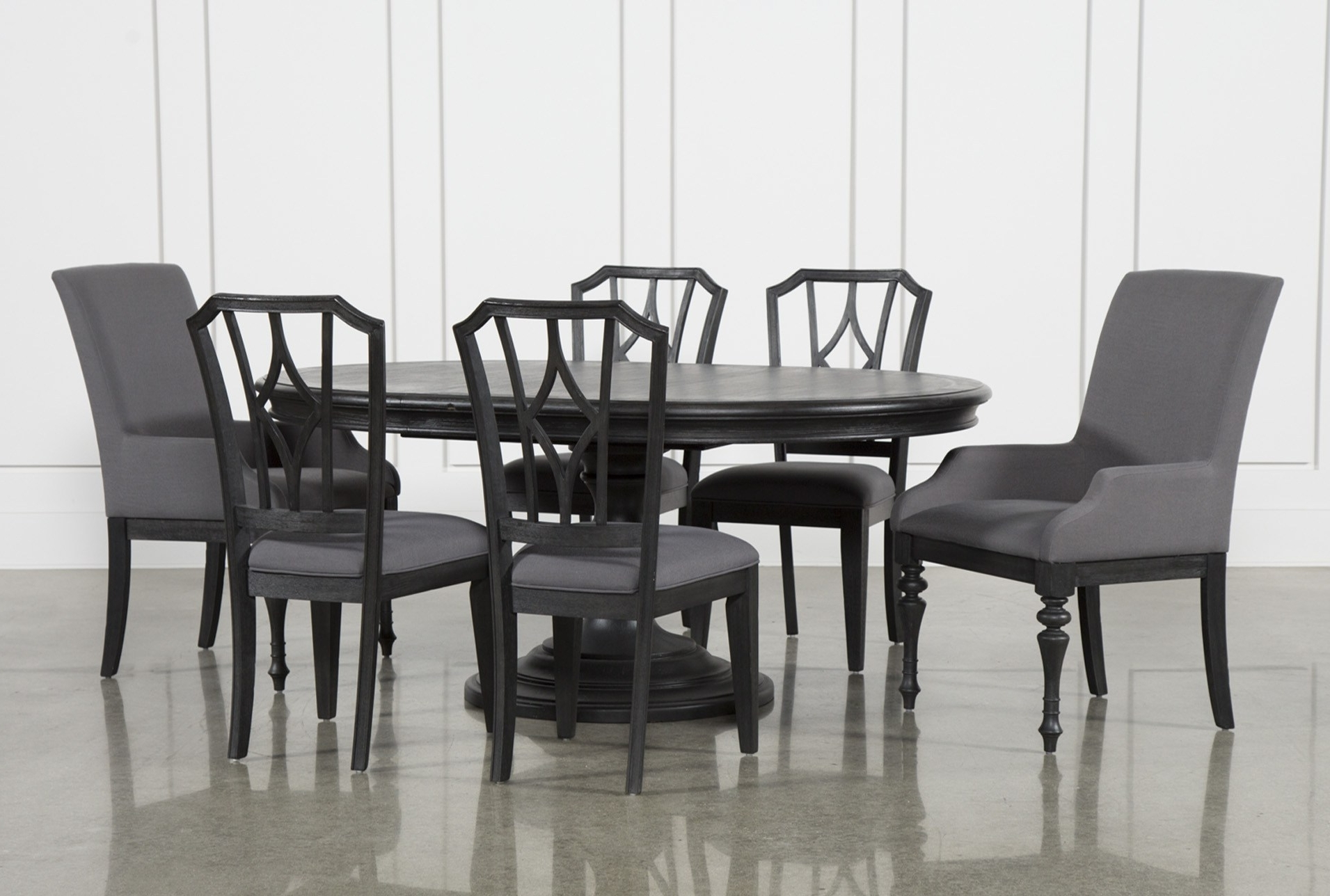 Delfina 7 Piece Dining Sets inside Best and Newest Sophisticated Caira Black Piece Set Chairs Diamond Back Chairs Has