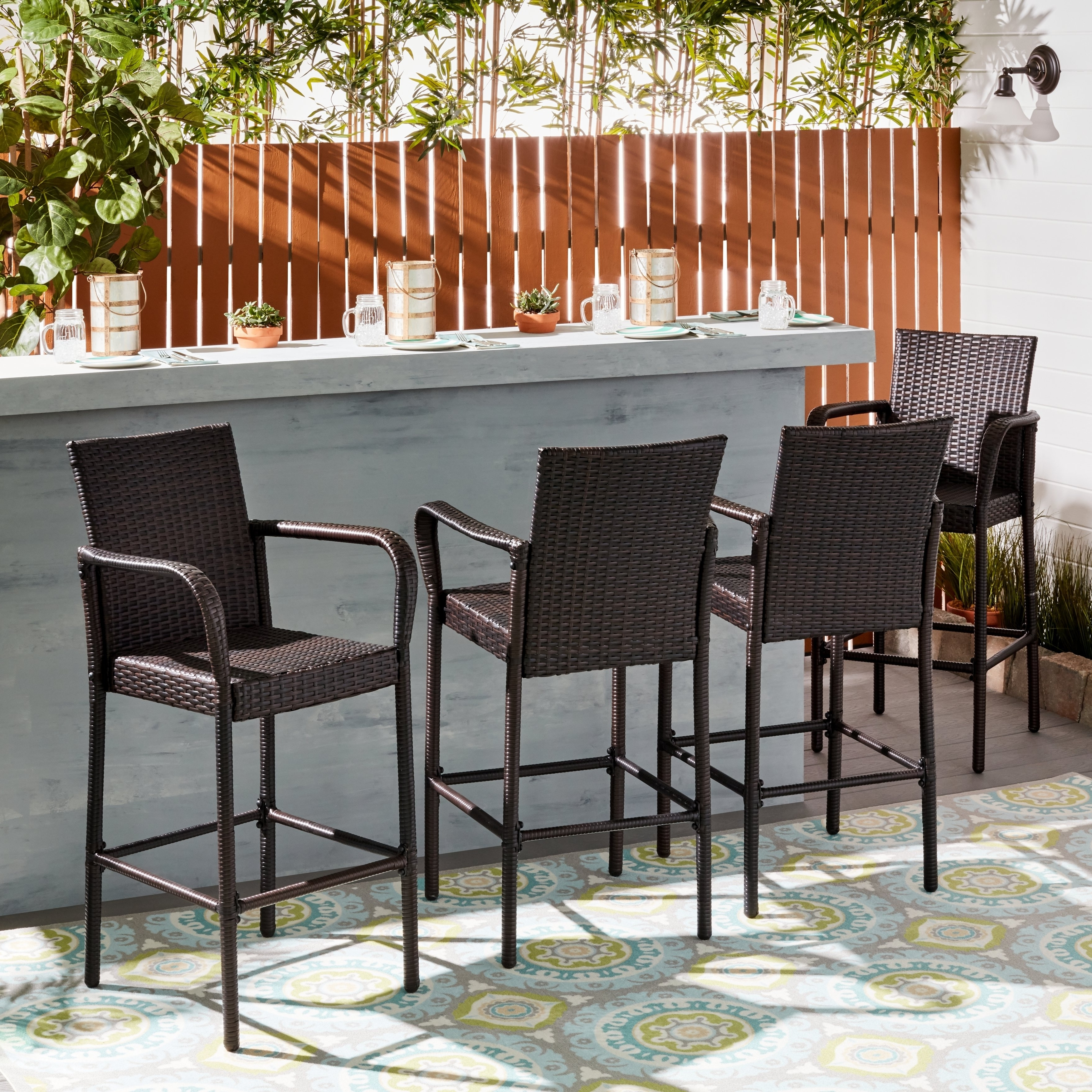 Delfina Dining Tables Pertaining To Most Current Shop Delfina Outdoor Wicker Barstool (Set Of 4)Christopher (View 10 of 25)