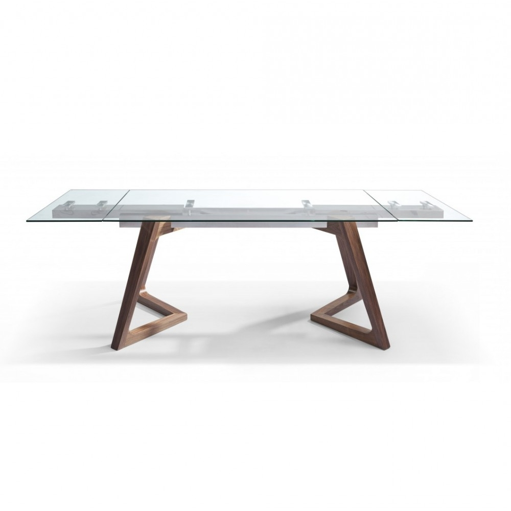 Delta Walnut And Glass Top Extendable Dining Table Throughout Widely Used Glass Folding Dining Tables (View 8 of 25)