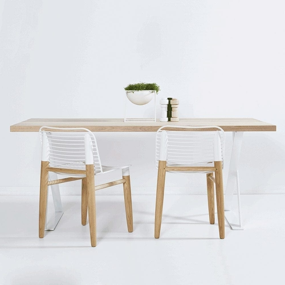 Designer Alexandria White Steel Industrial Dining Table- Oak Timber Top pertaining to Popular Dining Tables With White Legs And Wooden Top