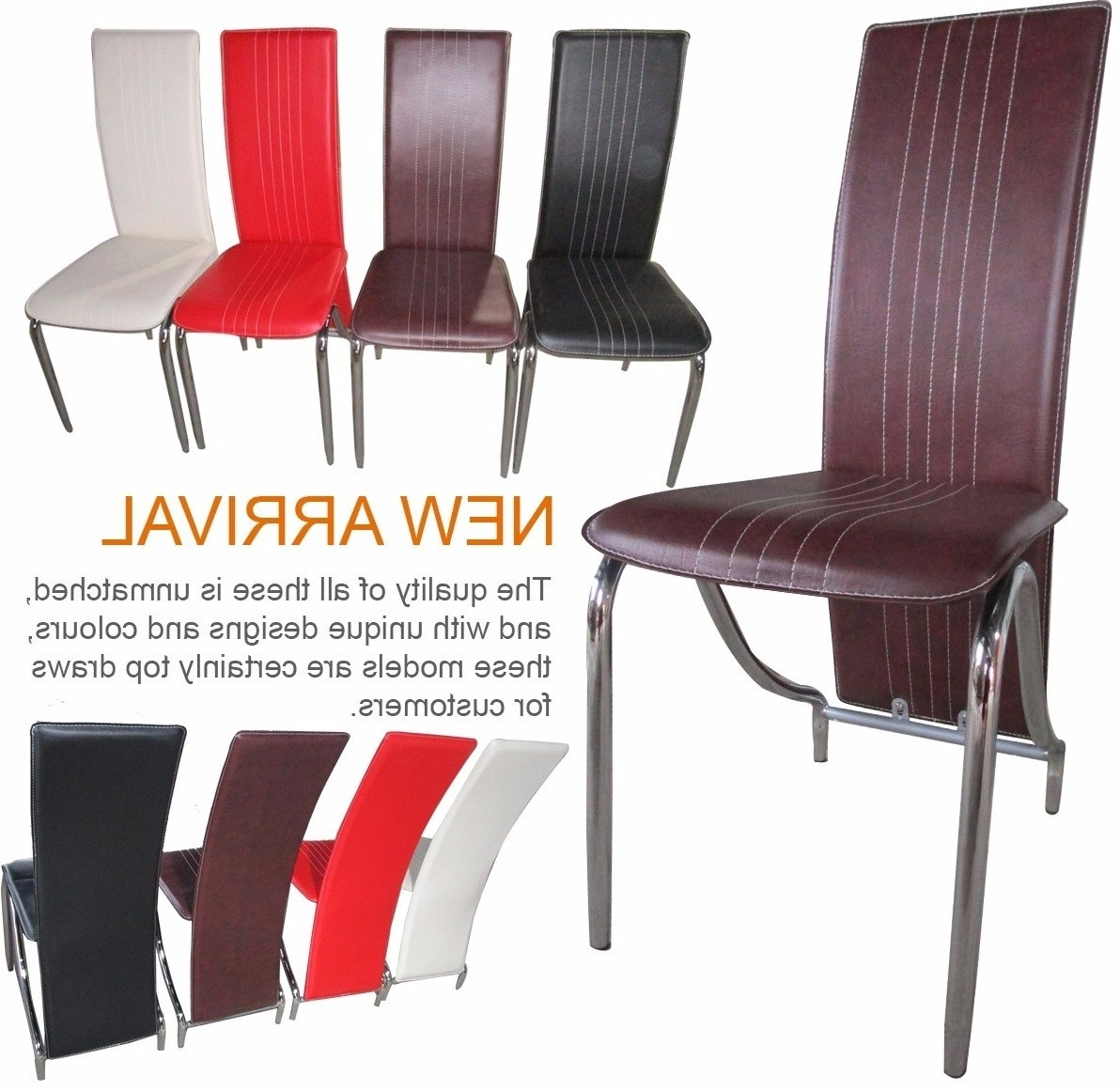 Designer High Back Faux Leather Dining Chair With Chrome Legs For Favorite High Back Leather Dining Chairs (View 18 of 25)