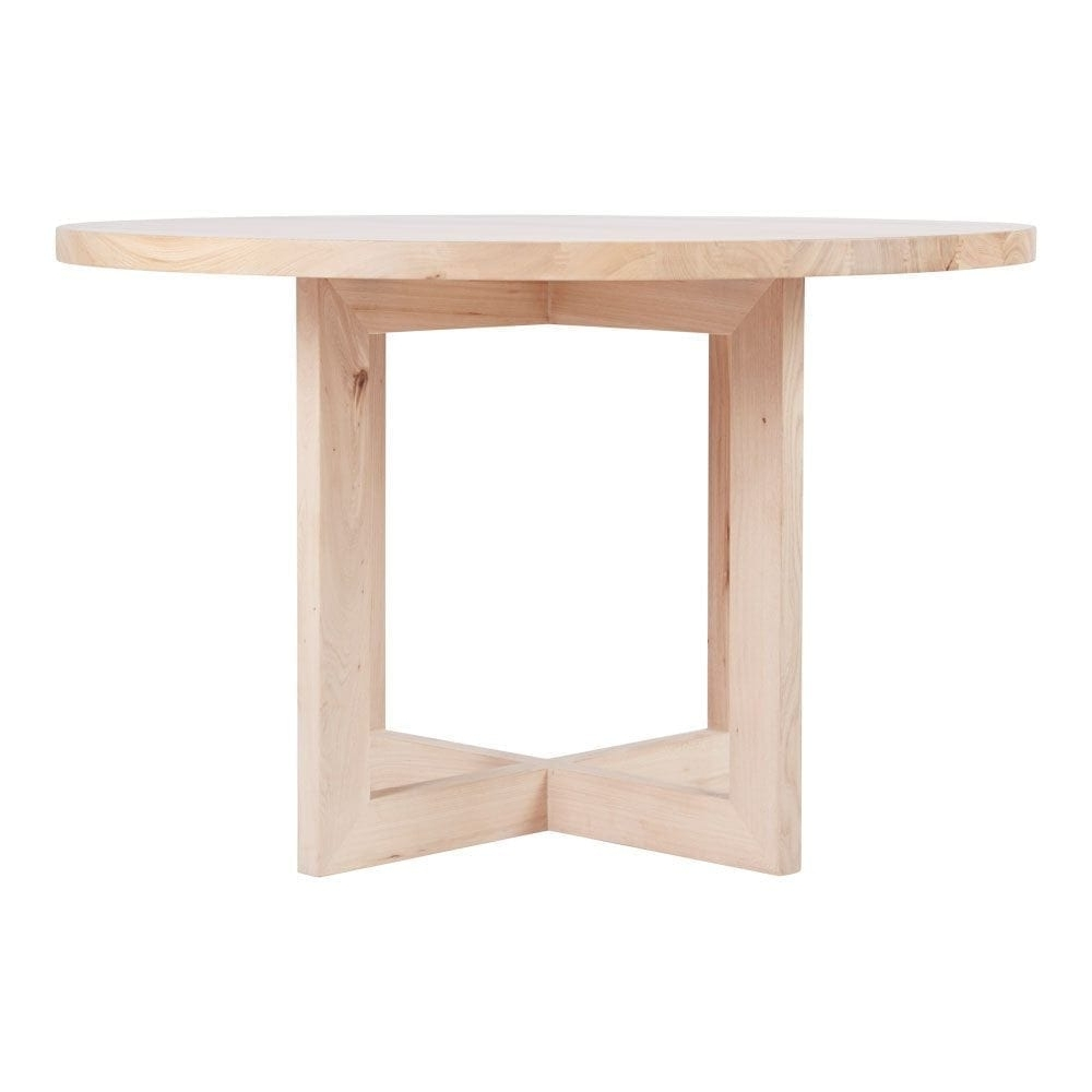Designer Round Solid Oak Timber Dining Table – Contemporary Furniture With Regard To Well Known Lassen Round Dining Tables (View 3 of 25)