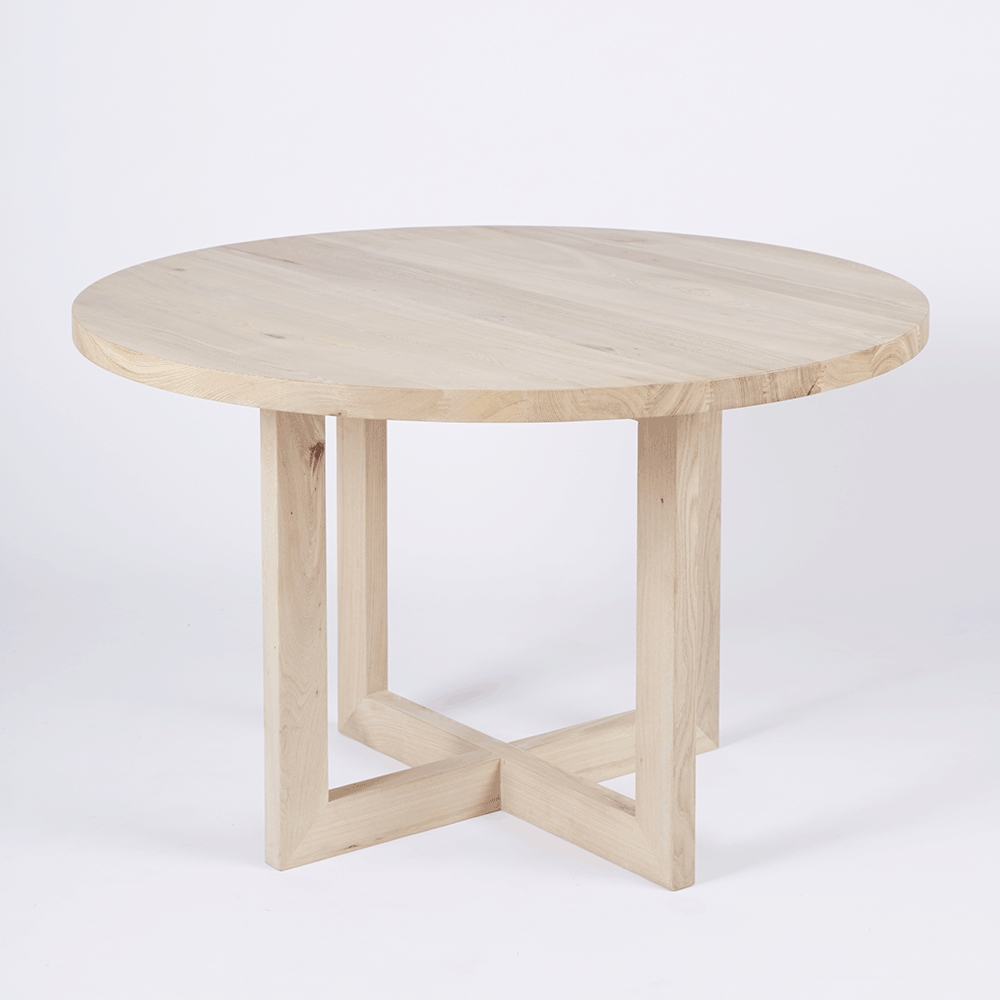Designer Round Solid Oak Timber Dining Table - Contemporary with regard to Well-known Circular Oak Dining Tables