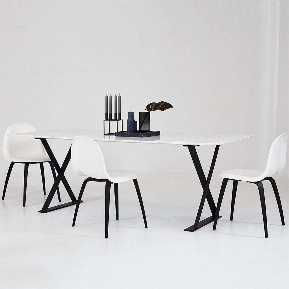 Designer Scandinavian Gubi 5 Dining Chair - White Seat/black Wooden Legs within Well-liked White Dining Chairs