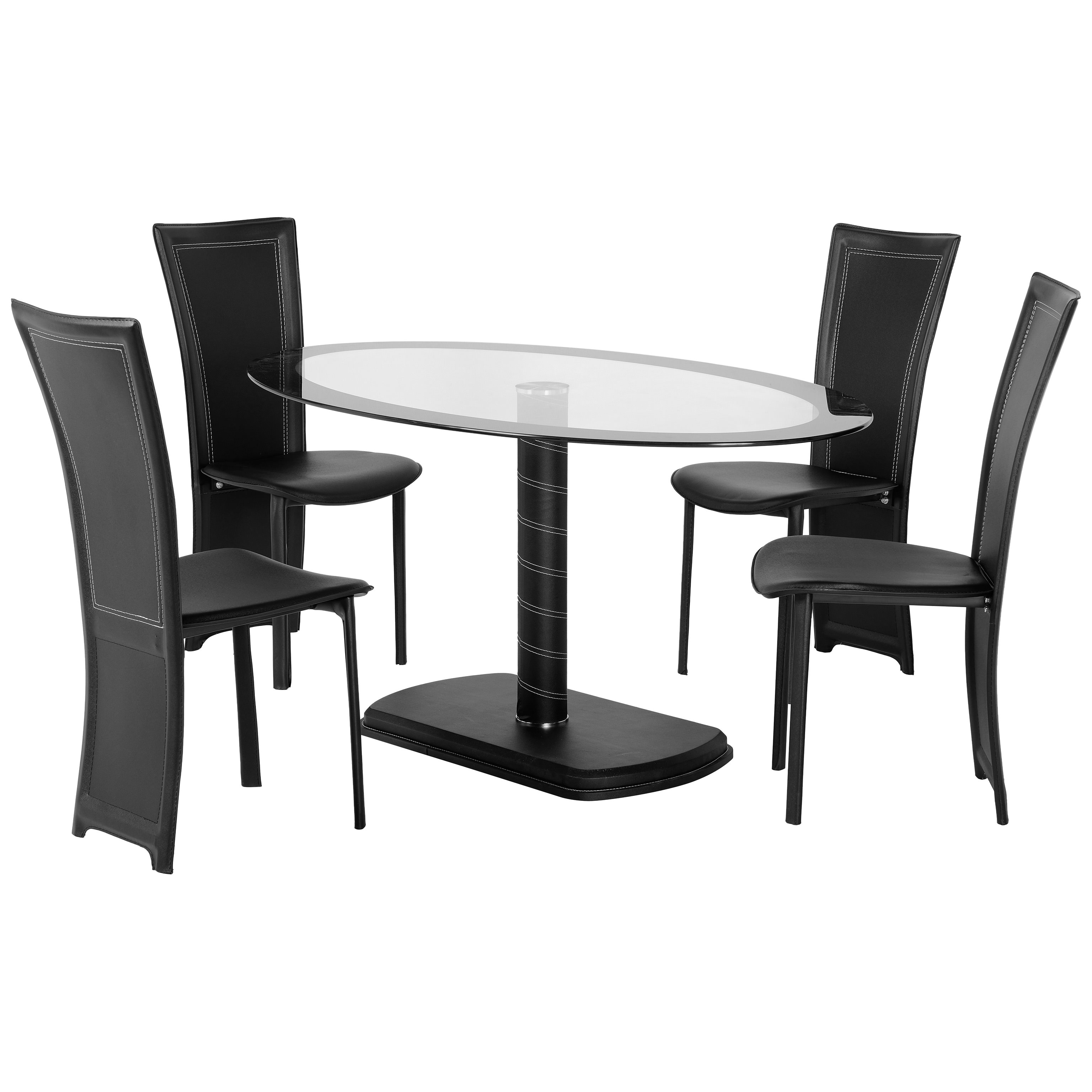 Details About Black & Clear Glass Oval Dining Table And Chair Set With 4  Leather Seats In Favorite Clear Glass Dining Tables And Chairs (View 10 of 25)