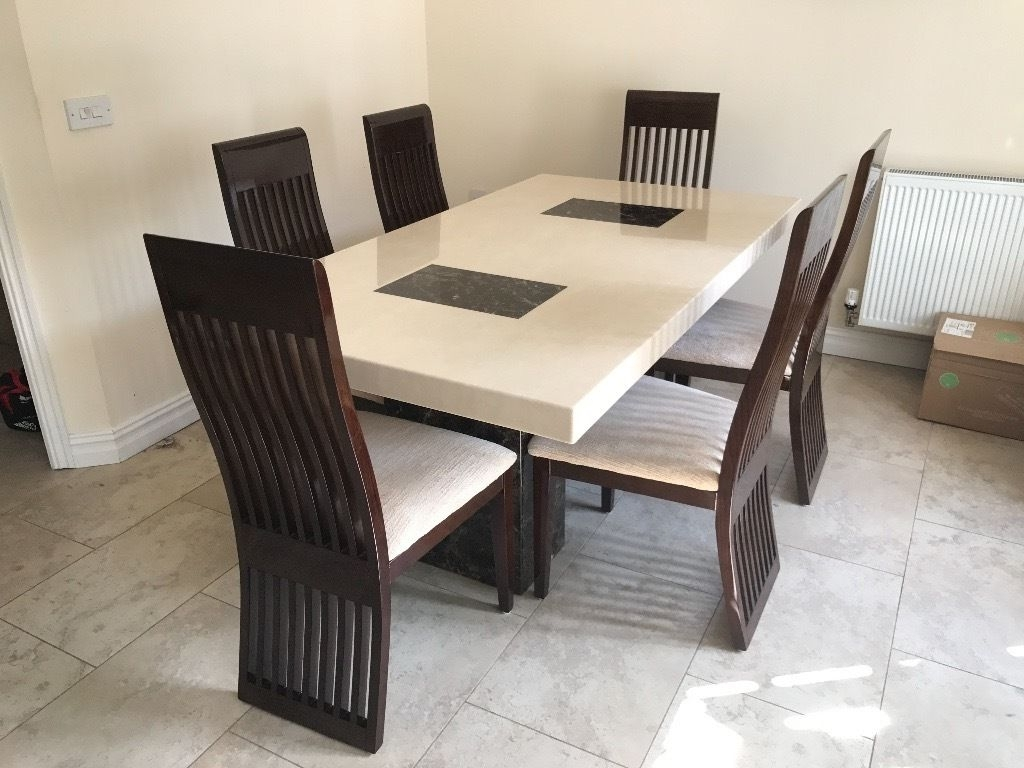 Dfs Marble Dining Table And 6 Chairs - Only 6 Months Old, As New throughout Most Up-to-Date Dining Room Chairs Only