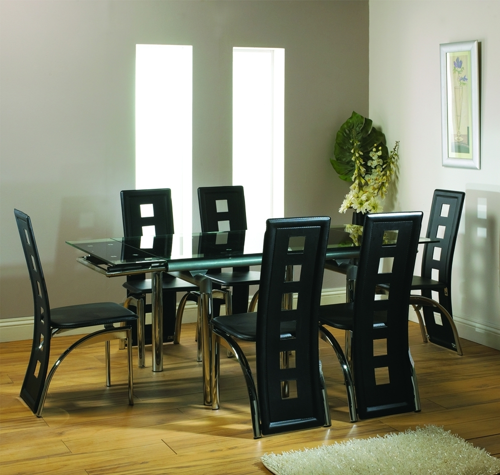Dining: 6 Seat Dining Sets inside Current Extendable Glass Dining Tables And 6 Chairs