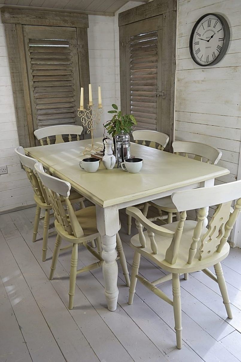Dining Chair : White Shabby Chic Kitchen Shabby Chic Table And Bench Regarding Widely Used Shabby Chic Cream Dining Tables And Chairs (View 14 of 25)