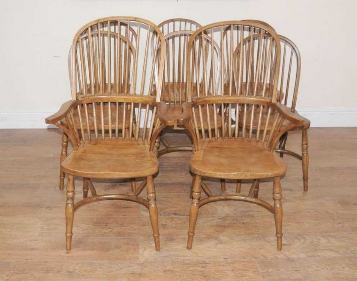 Dining Chairs Ebay With Regard To Newest Windsor Dining Chairs Set 8 Oak Farmhouse Chairs Ebay Within (Gallery 24 of 25)