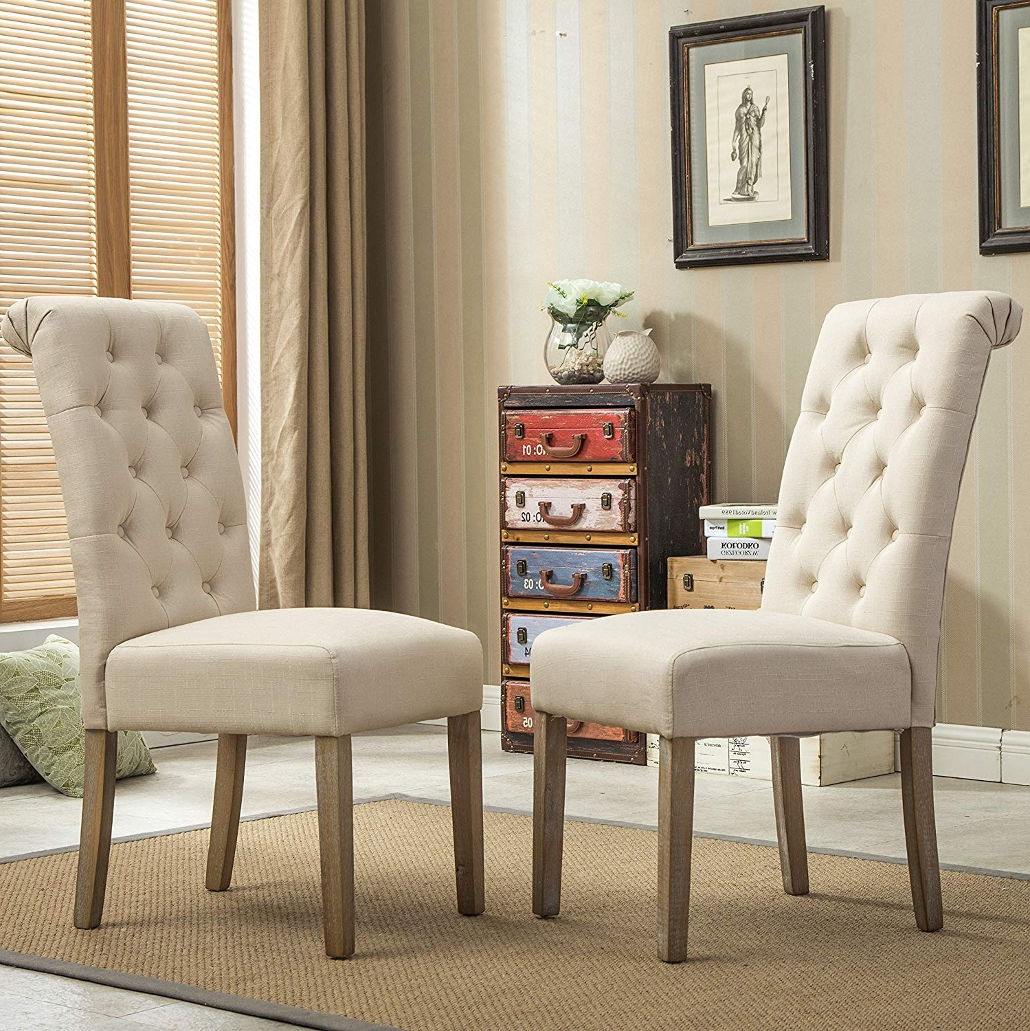 Dining Chairs With Regard To Recent Amazon – Roundhill Furniture Habit Solid Wood Tufted Parsons (View 12 of 25)