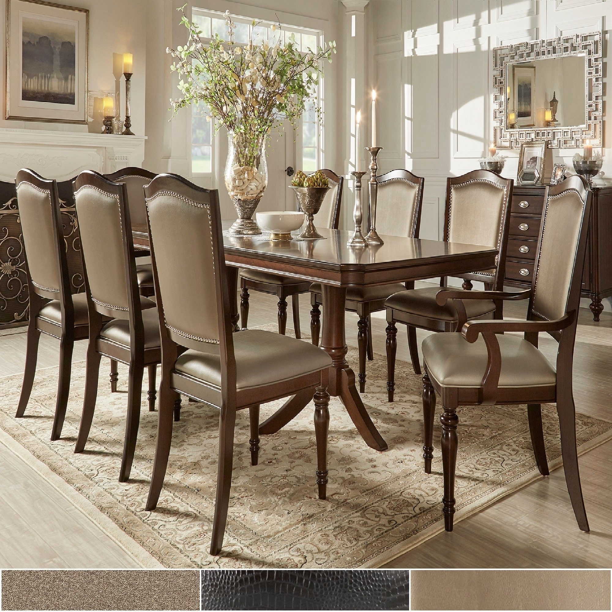 Dining Extending Tables And Chairs inside 2018 Shop Lasalle Espresso Pedestal Extending Table Dining Setinspire