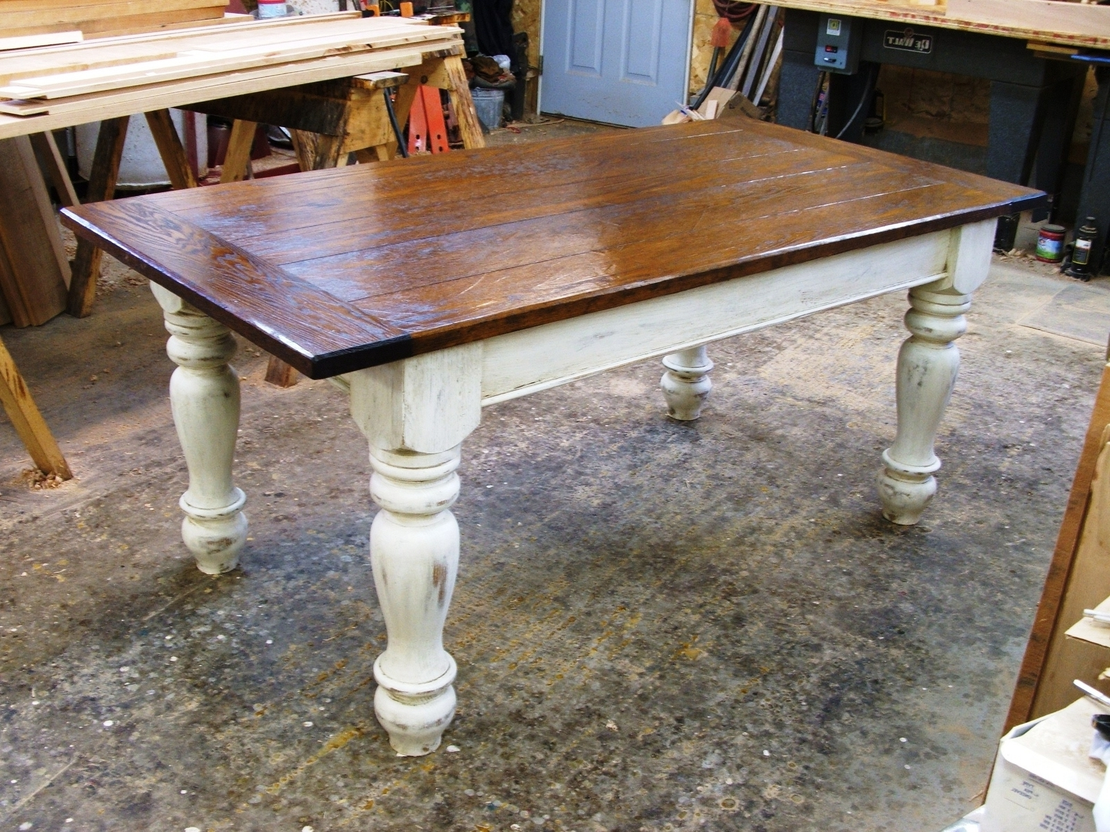 Dining Gumtree Set Tables Big Furniture And Pine Mo Rustic Pretty For Best And Newest Dining Tables With White Legs And Wooden Top (View 5 of 25)