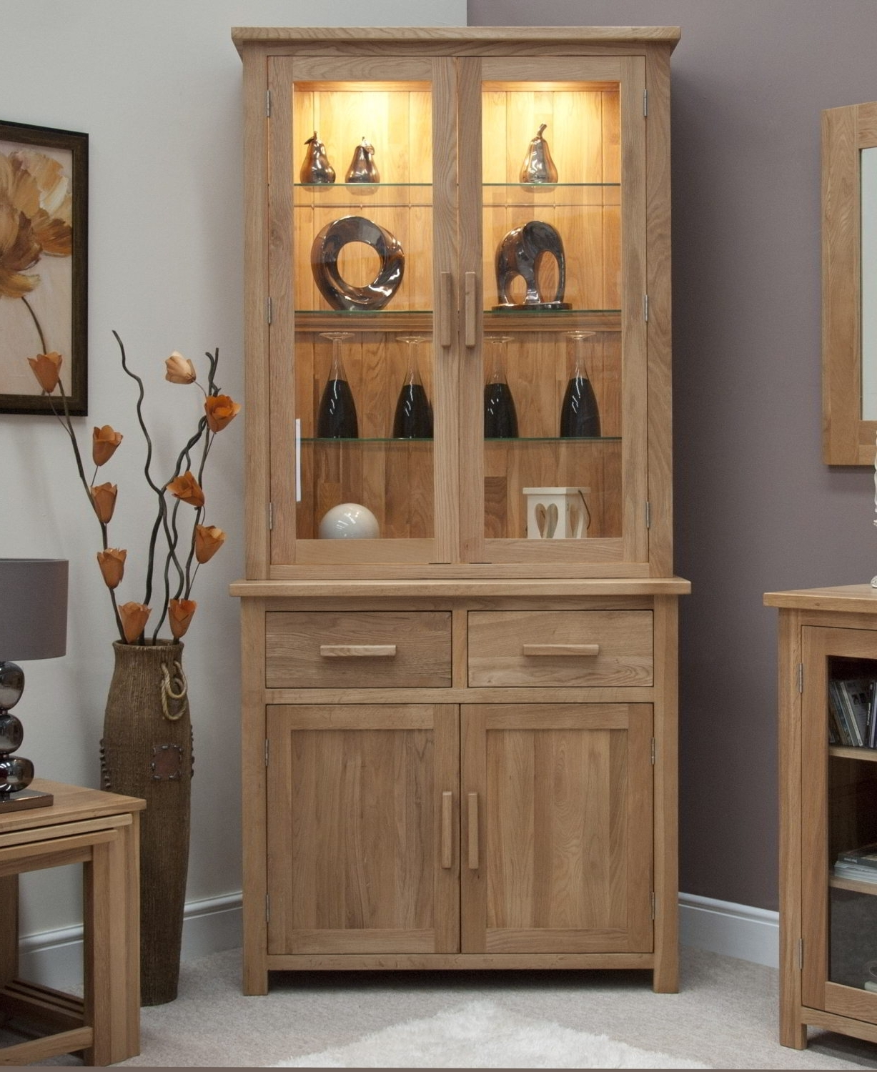 Dining Room Cabinets For Current Eton Solid Oak Living Dining Room Furniture Small Dresser Display (View 11 of 25)