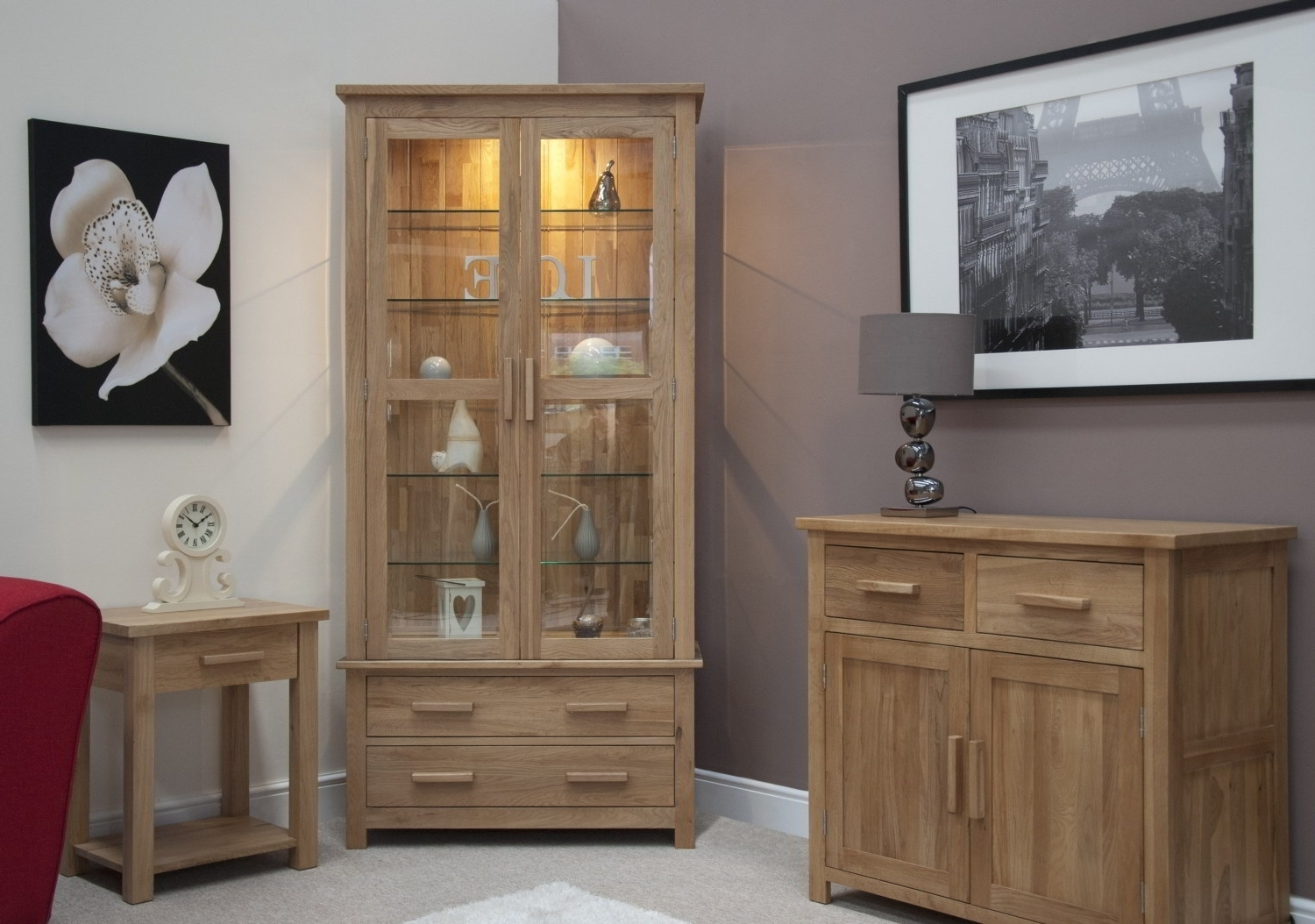 Dining Room Cabinets intended for Preferred Eton Solid Oak Living Room Furniture Glazed Display Cabinet Cupboard