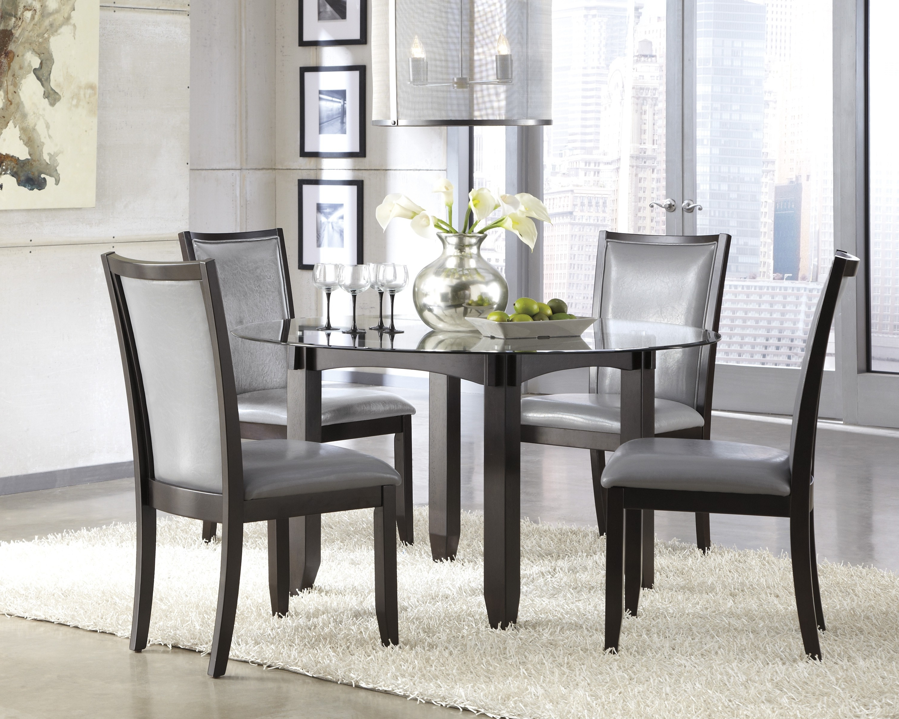 Dining Room Chairs in Popular 5 Round Black Dining Room Table And Chairs Furniture Ideas