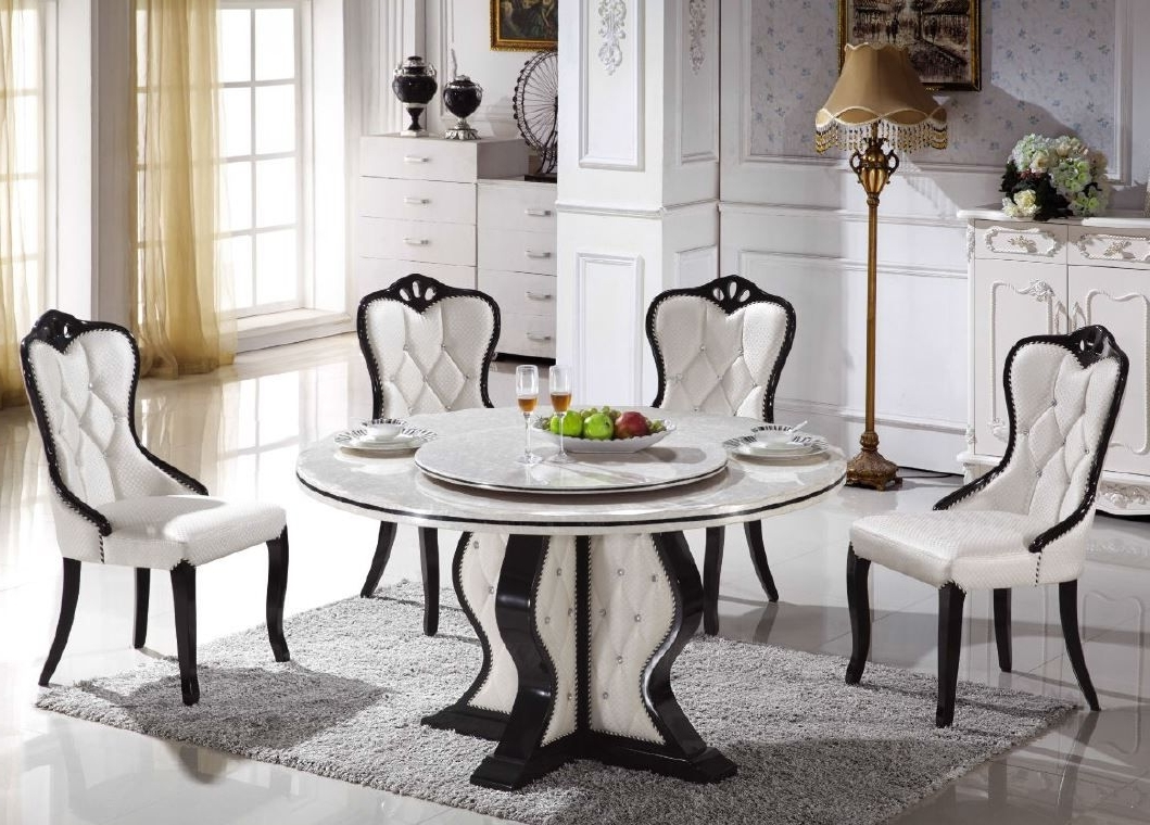 Dining Room Classic Round Marble Dining Table For 4 Dining Chairs Regarding Fashionable Helms 7 Piece Rectangle Dining Sets (View 25 of 25)
