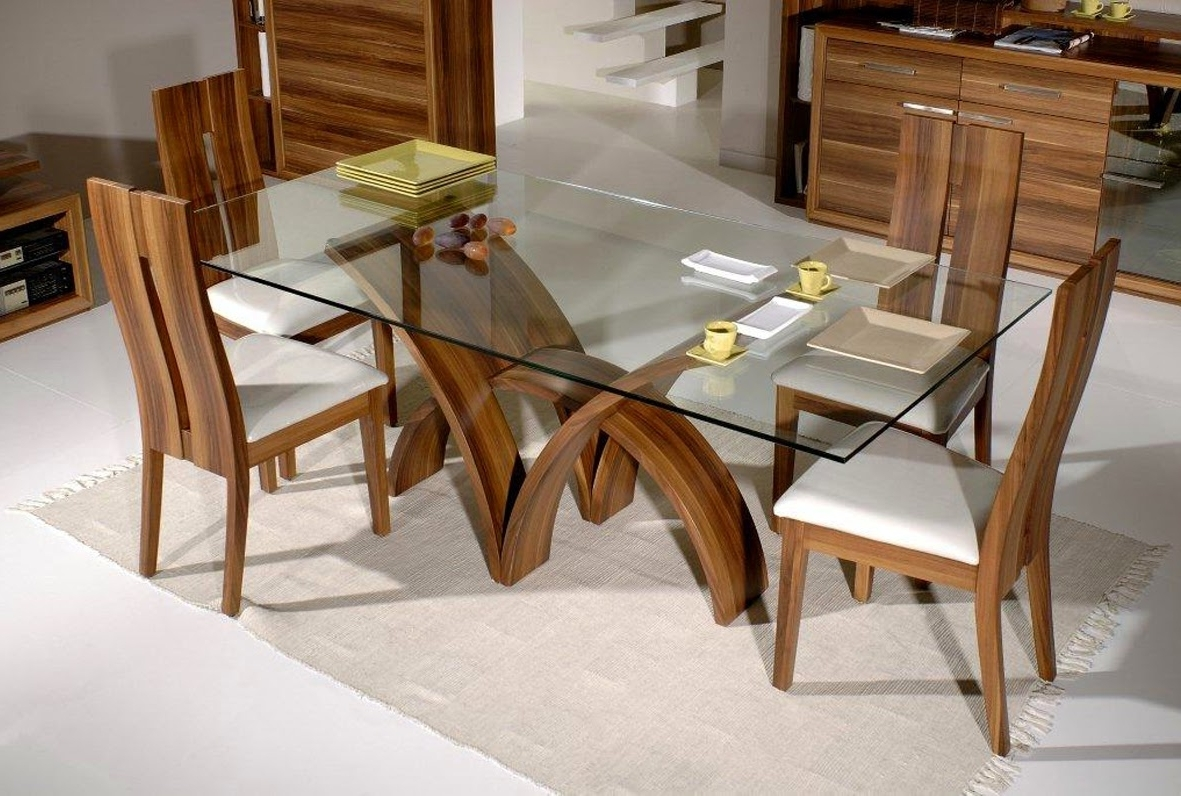 Dining Room Contemporary Glass Top Dining Table Oak Dining Room in Most Up-to-Date Glass And Oak Dining Tables And Chairs