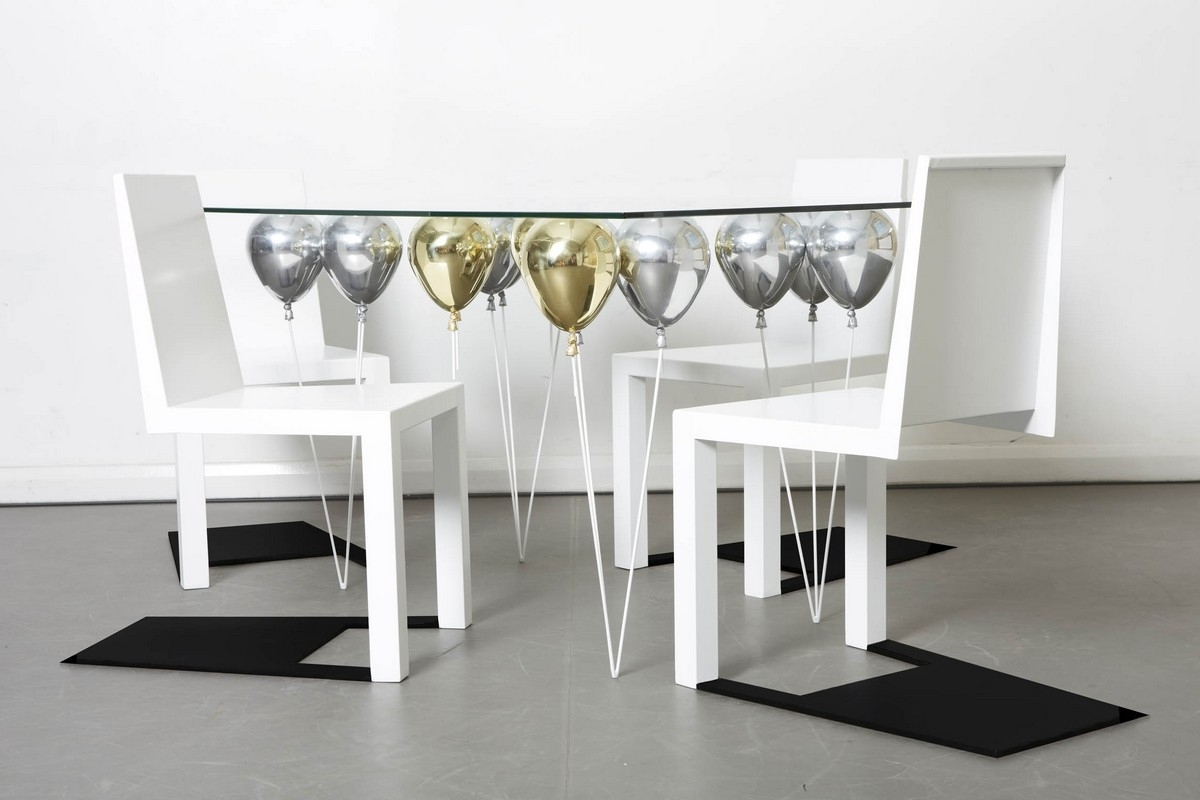 Dining Room Designs: Amazing White Floating Chairs False Shadow Pertaining To Most Recent Shiny White Dining Tables (View 6 of 25)
