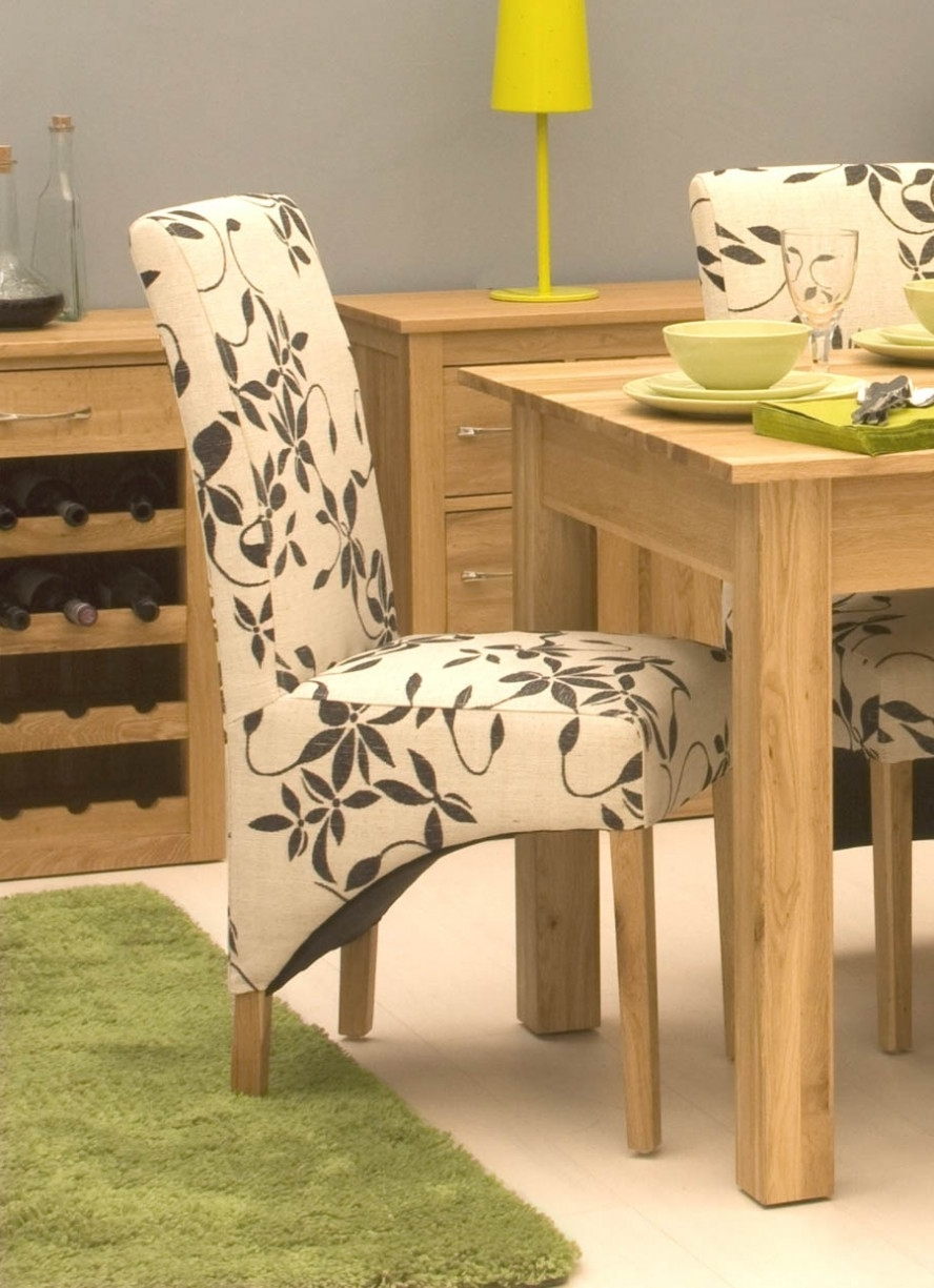 Dining Room Designs: Charming Floral Decor Upholstered Dining Chairs with Popular Oak Fabric Dining Chairs