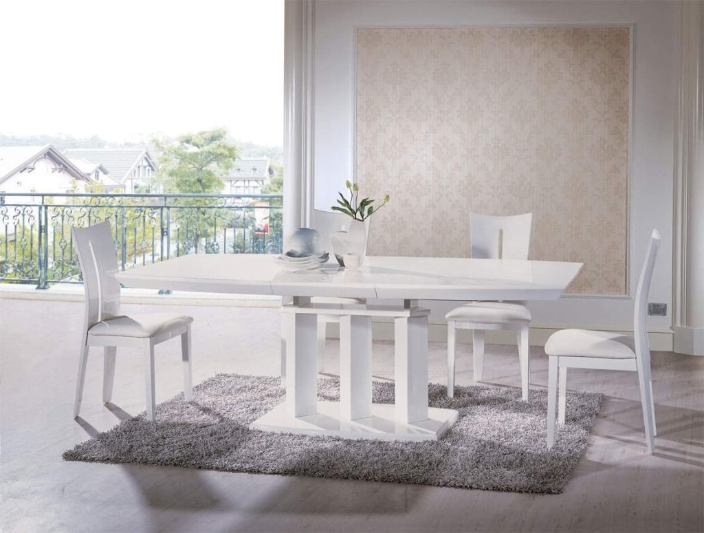 Dining Room: Elegant White Rectangle Dining Table Design With Within Most Up To Date Portland Dining Tables (View 6 of 25)