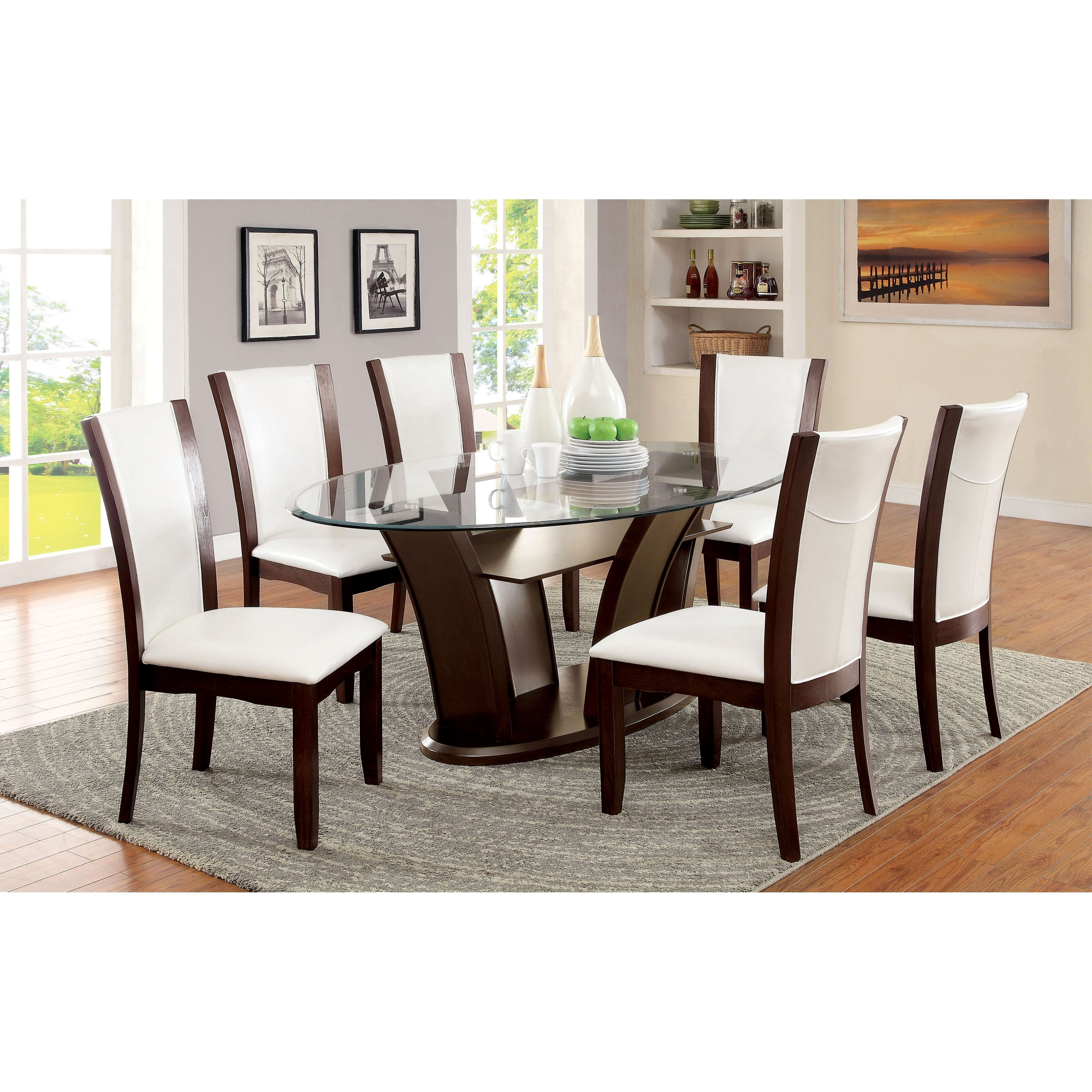 Dining Room Glass Tables Sets regarding Most Popular Furniture Of America Lavelle 7 Piece Tempered Glass Top Dining Table