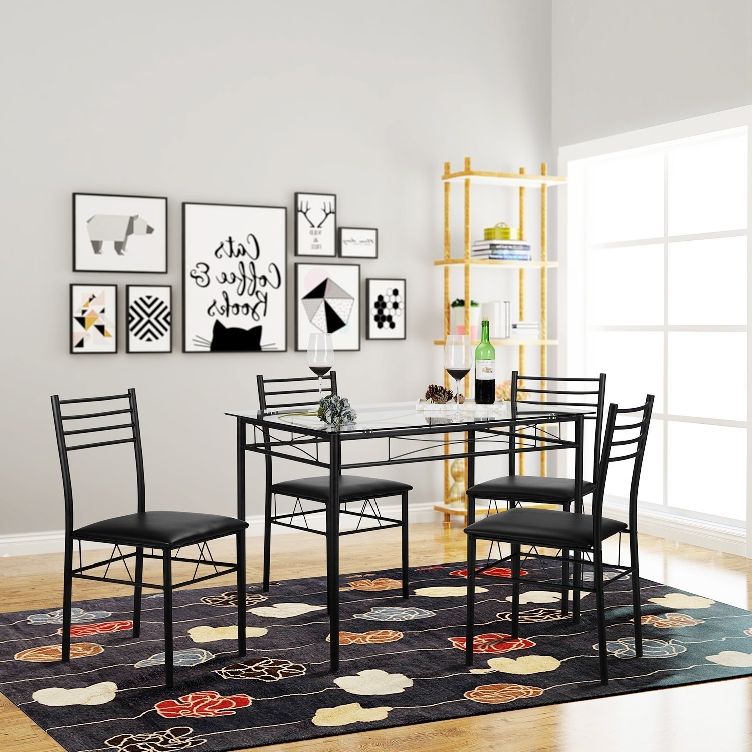 Dining Room Glass Tables Sets Regarding Widely Used Shop Vecelo Kitchen Dining Table Sets,tempered Glass Table With  (View 13 of 25)