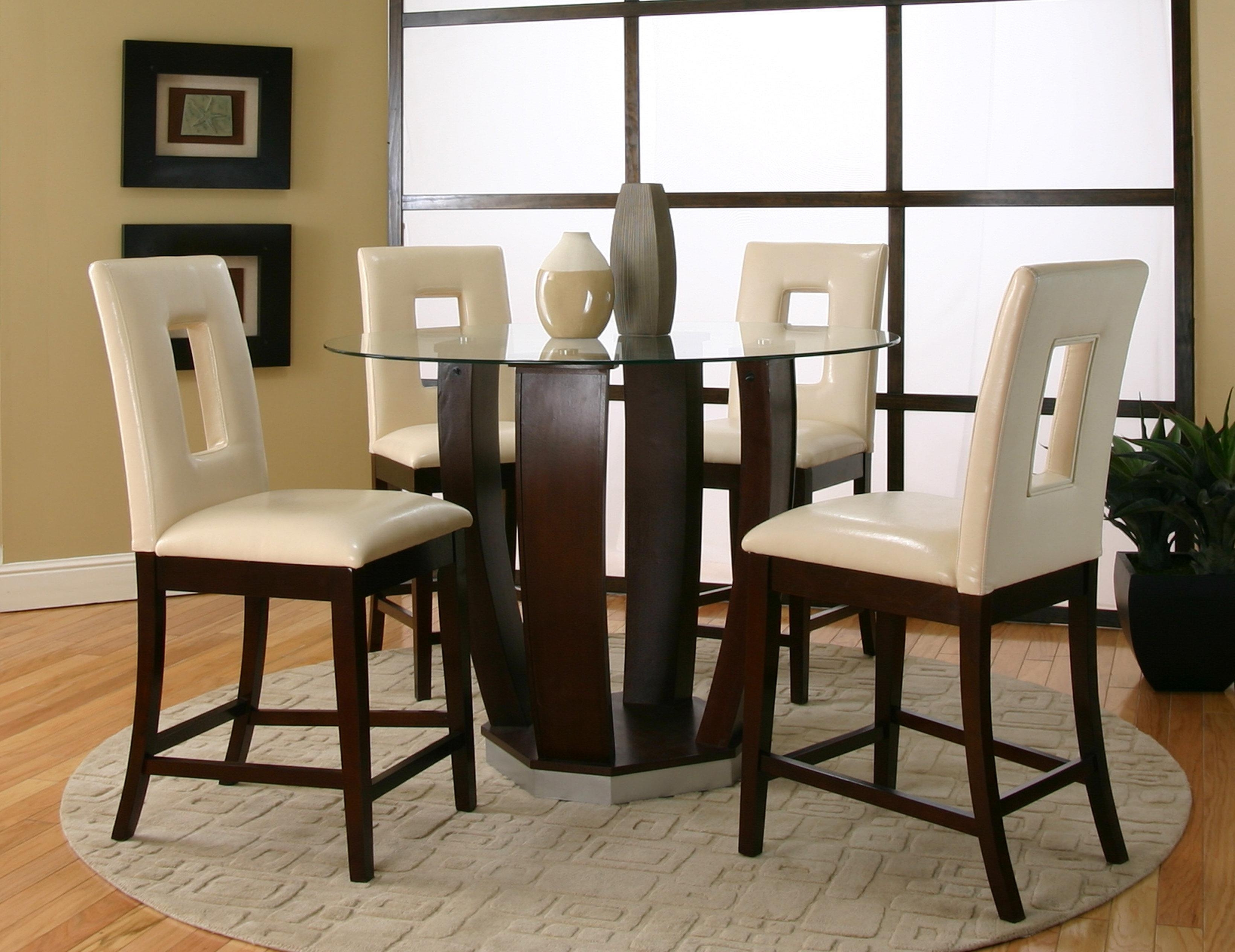 Dining Room Glass Tables Sets Throughout Popular Cramco, Inc Contemporary Design – Emerson Tempered Glass Top Pub (Gallery 9 of 25)