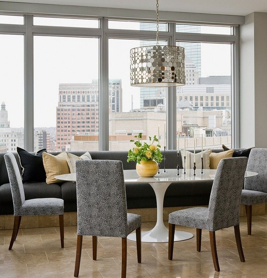 Dining Room: White Saarinen Oval Tulip Dining Table And Grey Banquet Throughout Trendy Bale Rustic Grey 6 Piece Dining Sets With Pearson Grey Side Chairs (Gallery 9 of 25)