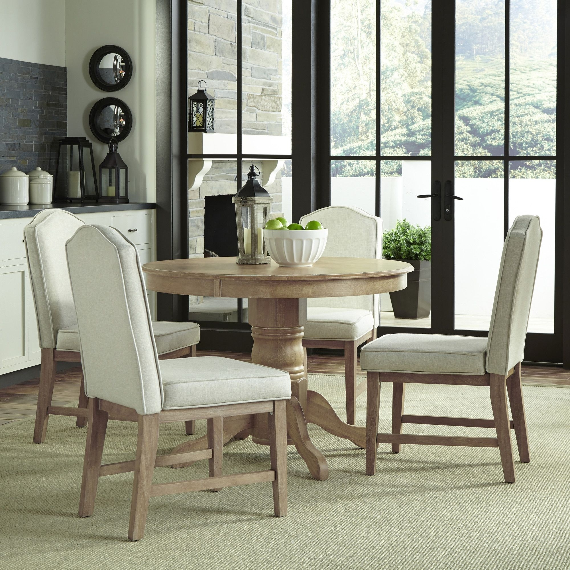 Featured Photo of Laurent 5 Piece Round Dining Sets With Wood Chairs