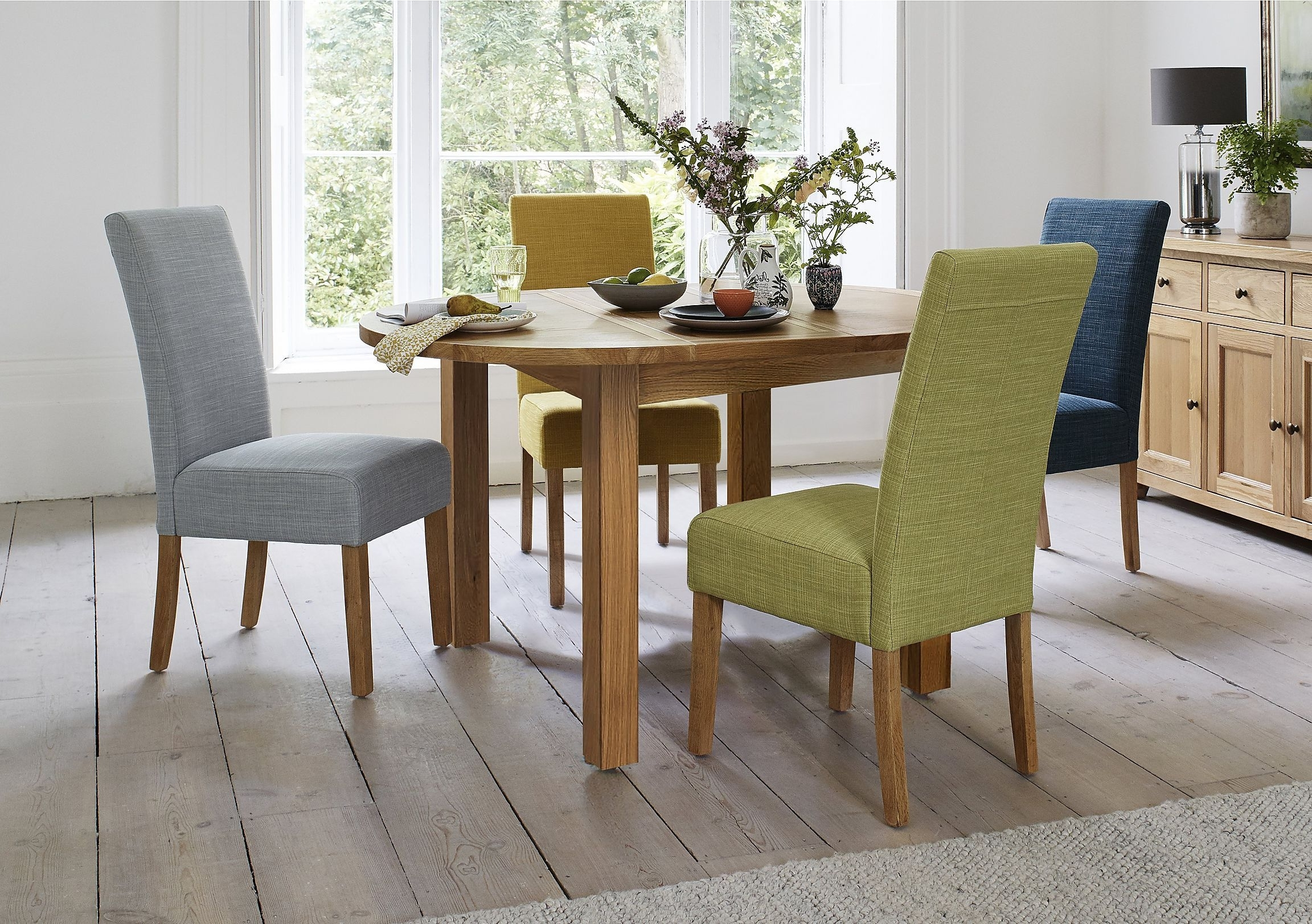 Dining Set Includes 4 Versatile Dining Chairs Upholstered In Fabric With Current Round Oak Dining Tables And 4 Chairs (View 10 of 25)