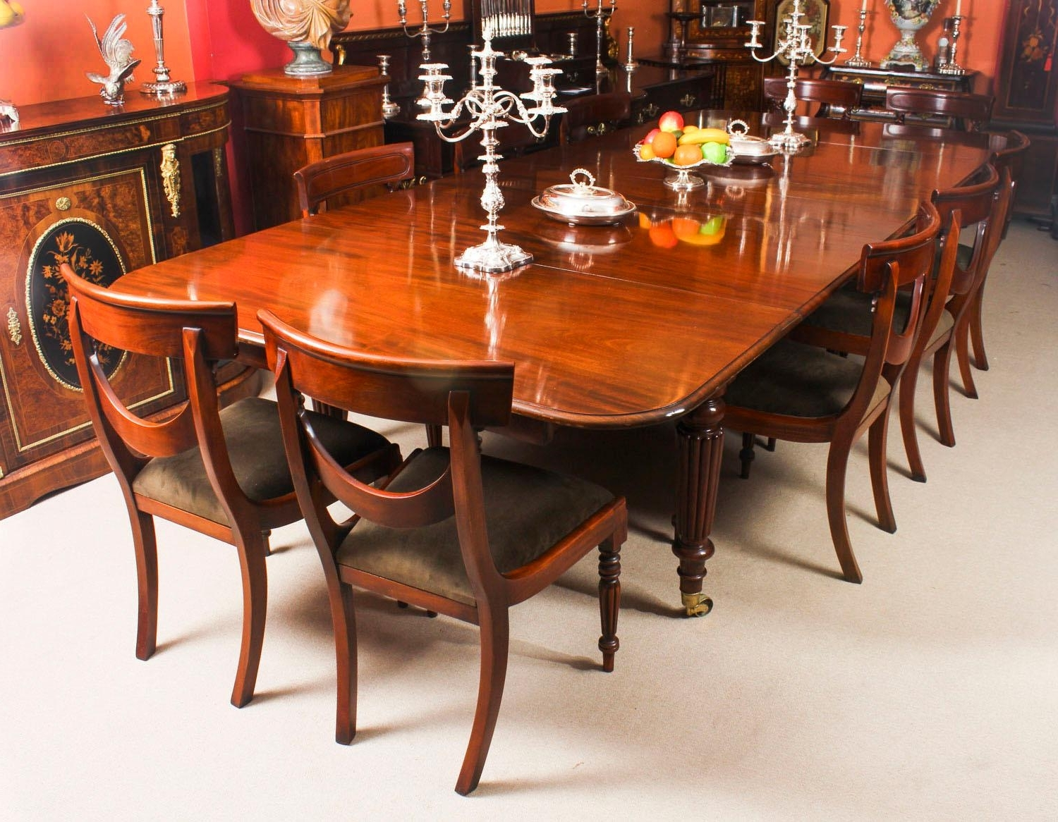 Dining Table And 10 Chairs For Well Liked Antique Flame Mahogany Extending Dining Table 19Th Century And 10 (Gallery 18 of 25)