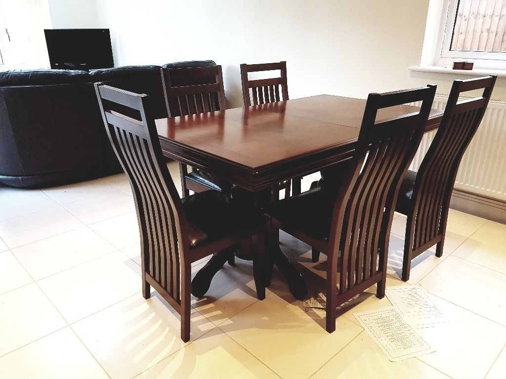Dining Table And 6 Chairs Chatsworth Extending Dark Wood Dining Throughout Fashionable Dark Wood Dining Tables And 6 Chairs (Gallery 10 of 25)