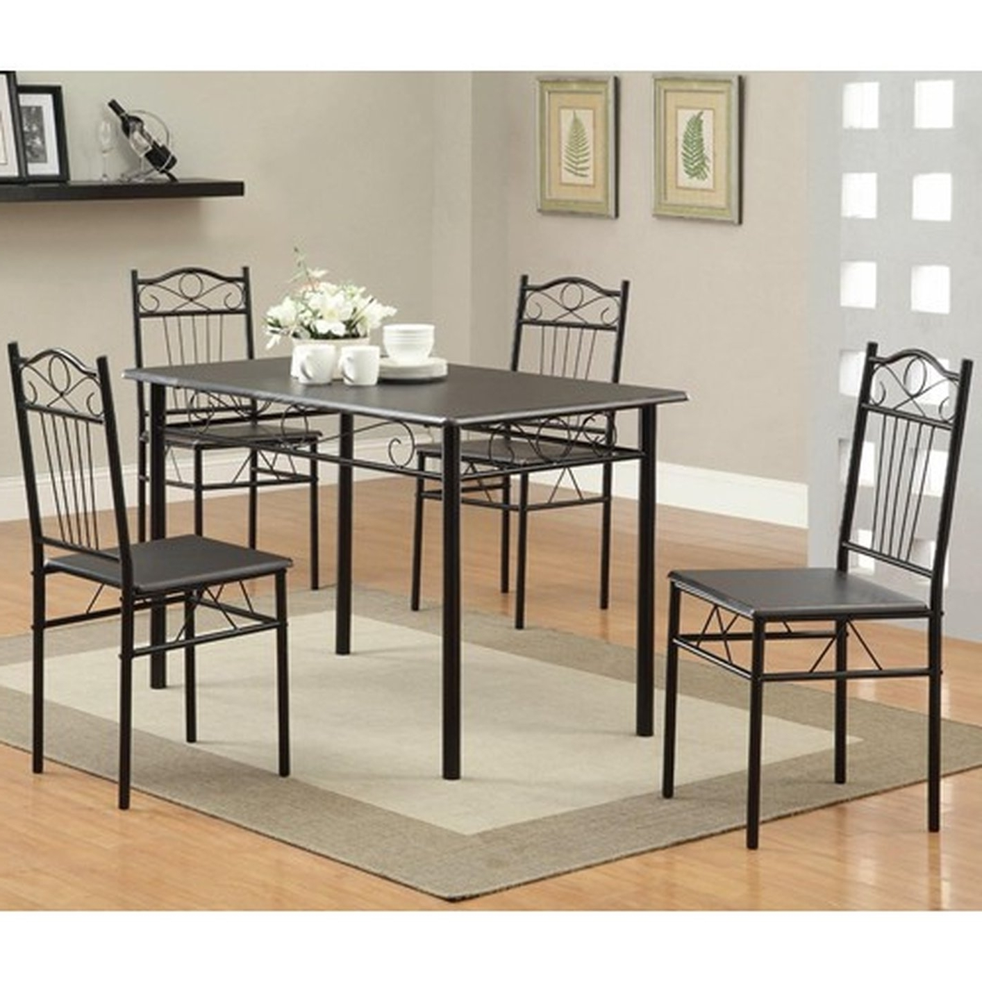 Dining Table Chair Sets Intended For Most Up To Date Black Metal Dining Table And Chair Set – Steal A Sofa Furniture (View 13 of 25)