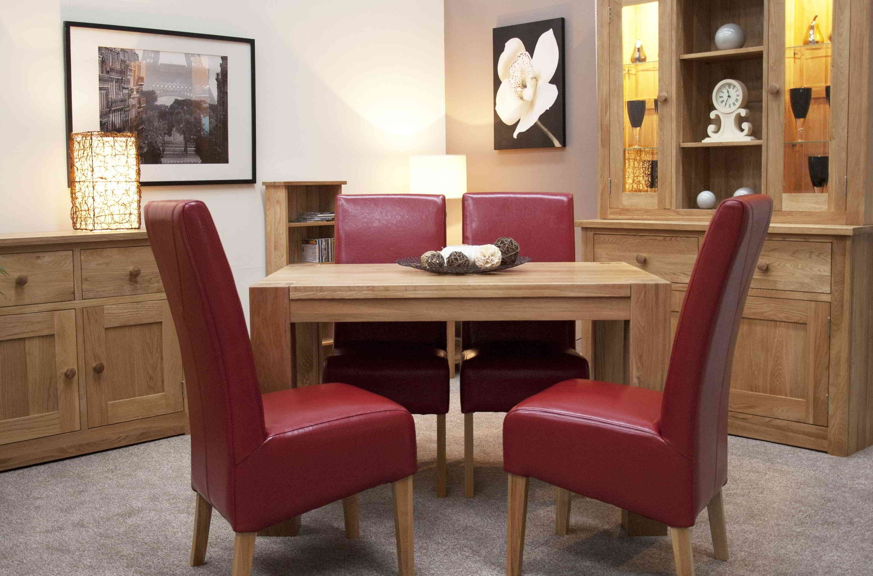 Dining Table Chair Sets Intended For Trendy Romano Solid Oak Furniture Small Dining Table And Four Red Leather (Gallery 21 of 25)