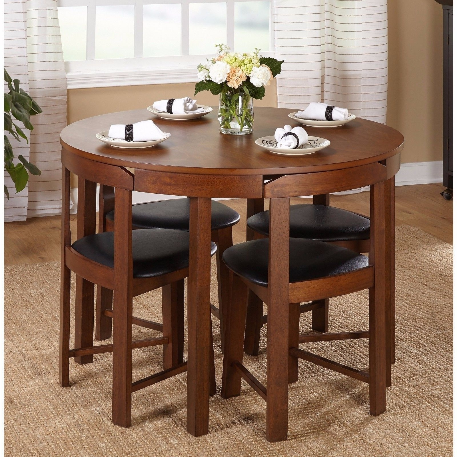 Dining Table Set For 4 Small Spaces Round Kitchen Table And Chairs For Popular Compact Dining Tables (Gallery 6 of 25)