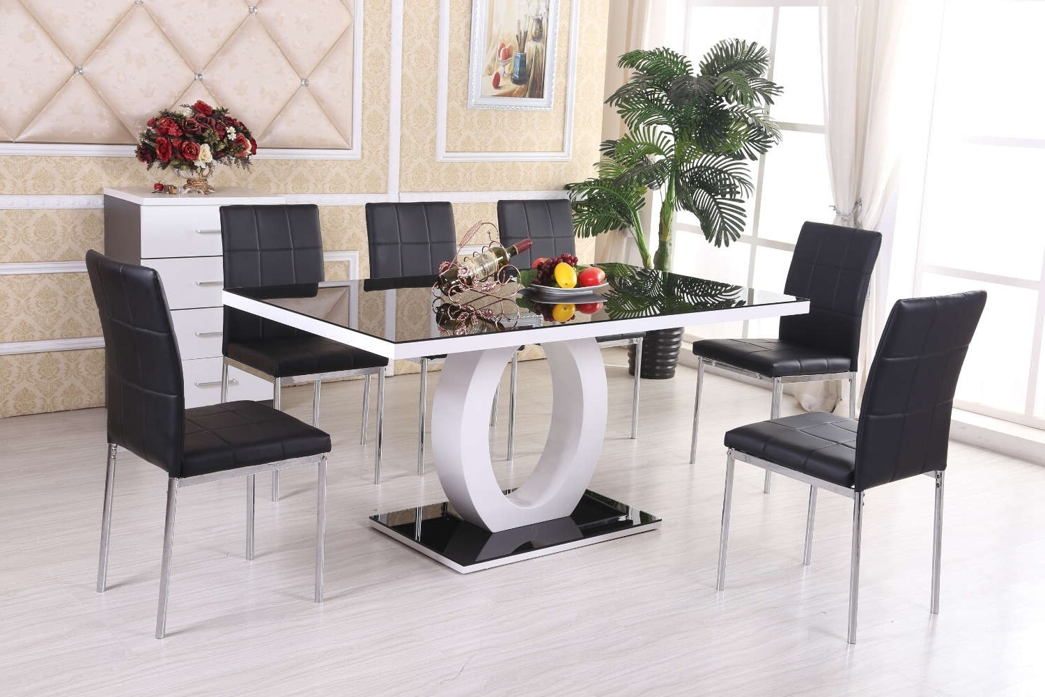 Dining Table Set With 6 Chairs – Castrophotos With Well Liked Black Glass Extending Dining Tables 6 Chairs (View 14 of 25)