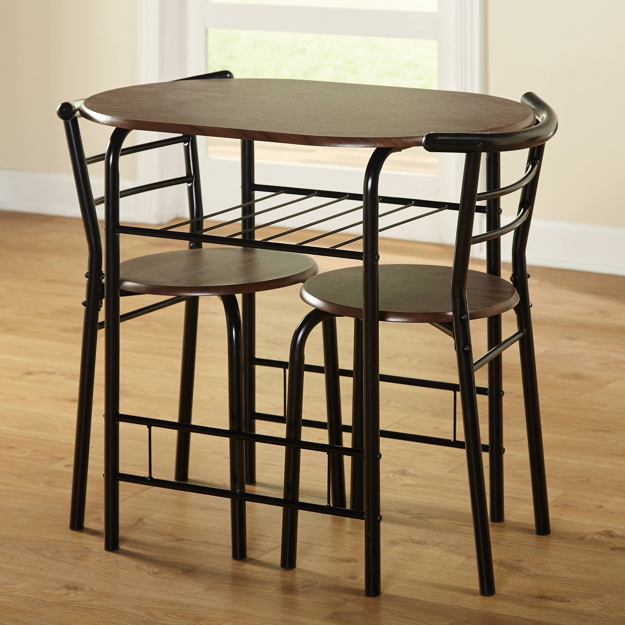 Dining Table Sets For 2 For Current 3 Piece Bistro Set Dining Oval Table 2 Chairs W/ Shelf Seat Black (Gallery 9 of 25)